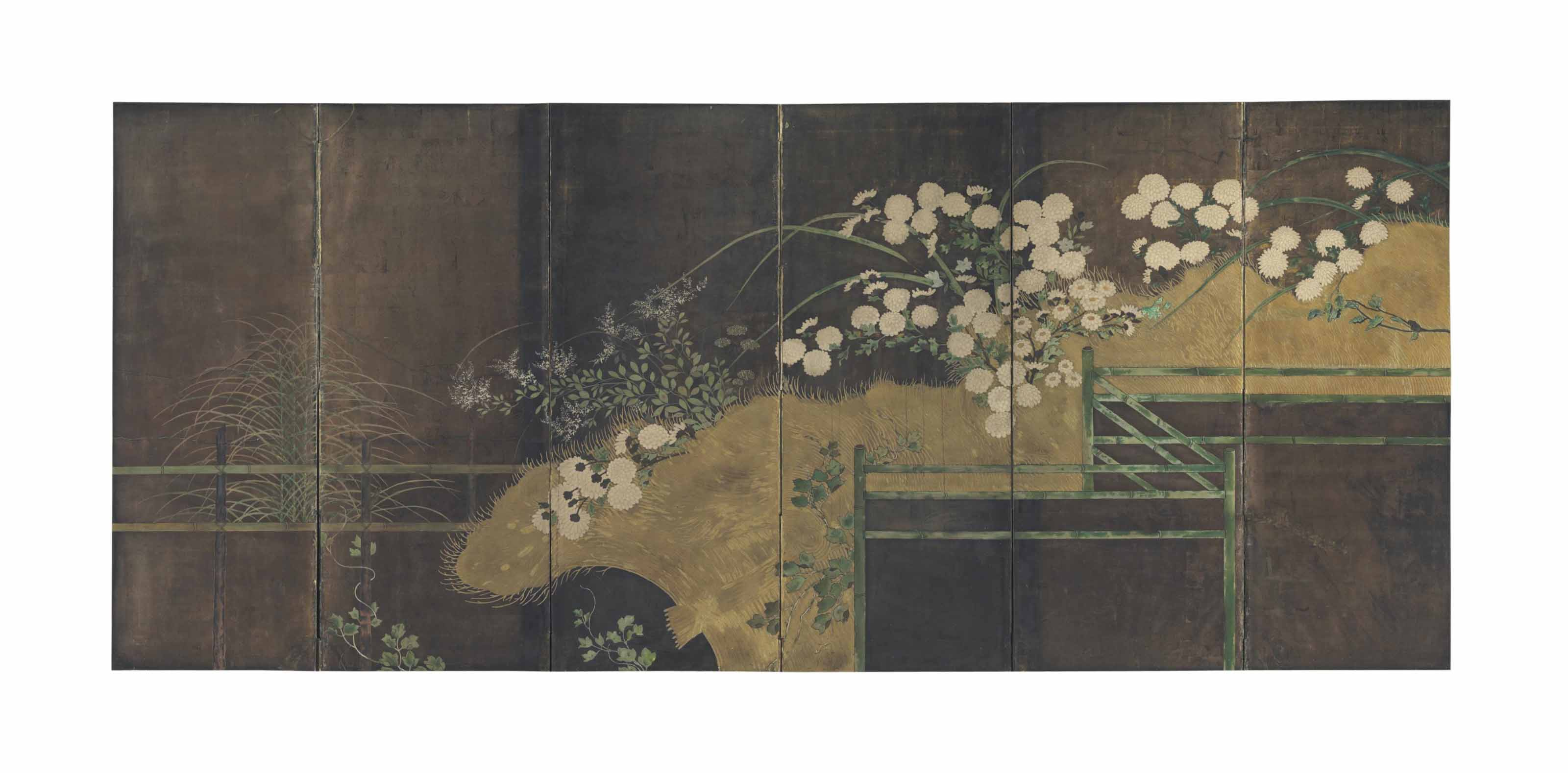 A JAPANESE SIX-PANEL FLOOR SCR