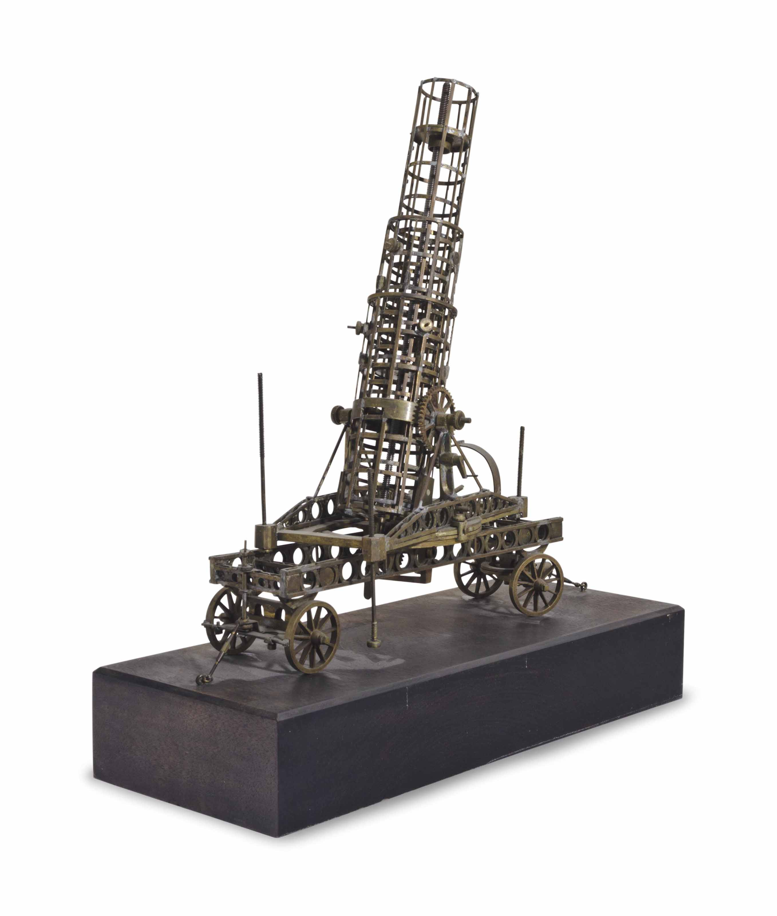 A BRASS MODEL OF AN OIL DERRIC
