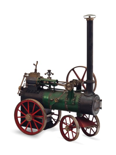 A BRASS AND PAINTED IRON MODEL