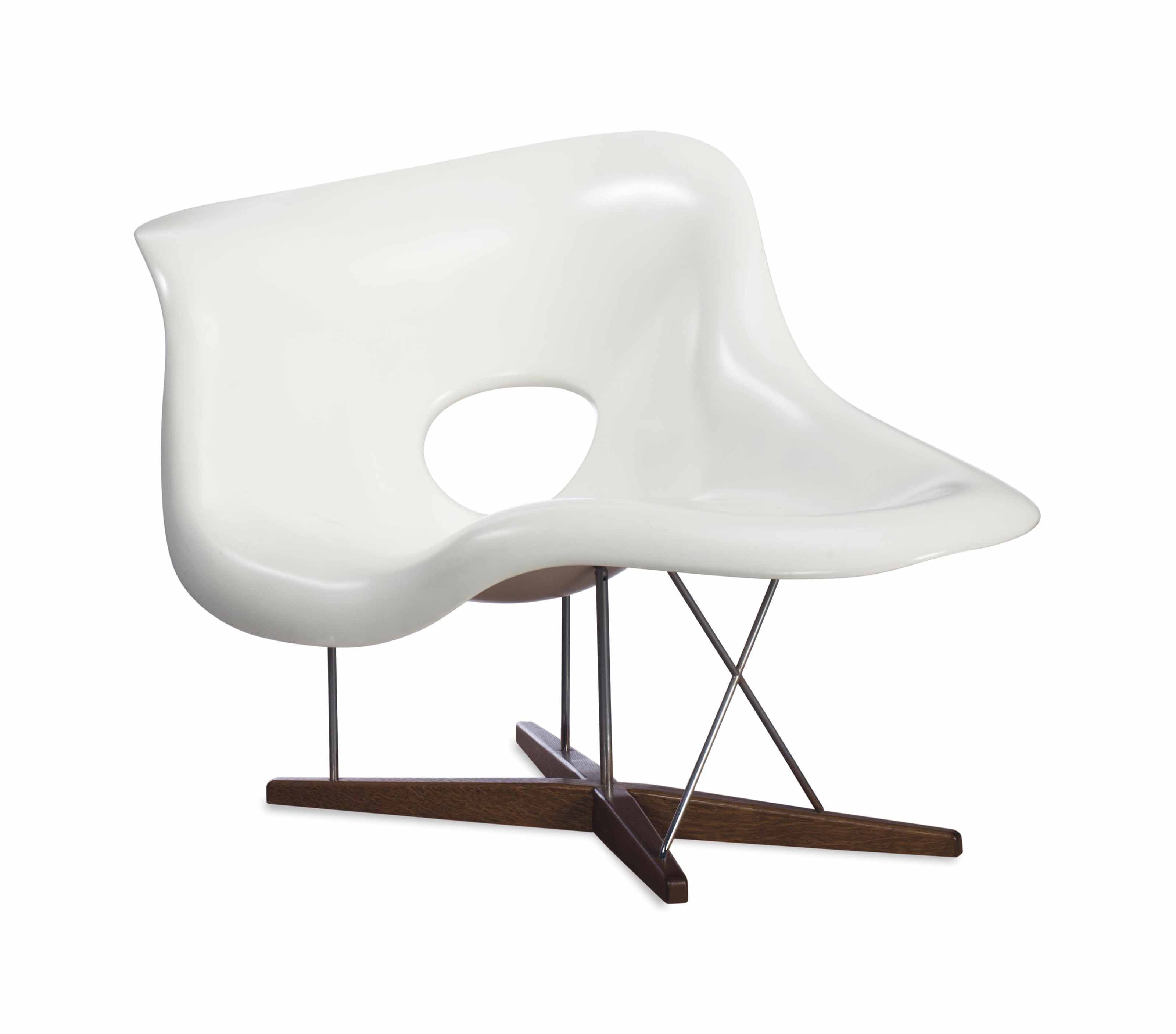 a white fiberglass aluminum and oak 39 la chaise 39 lounge chair designed by charles and ray. Black Bedroom Furniture Sets. Home Design Ideas