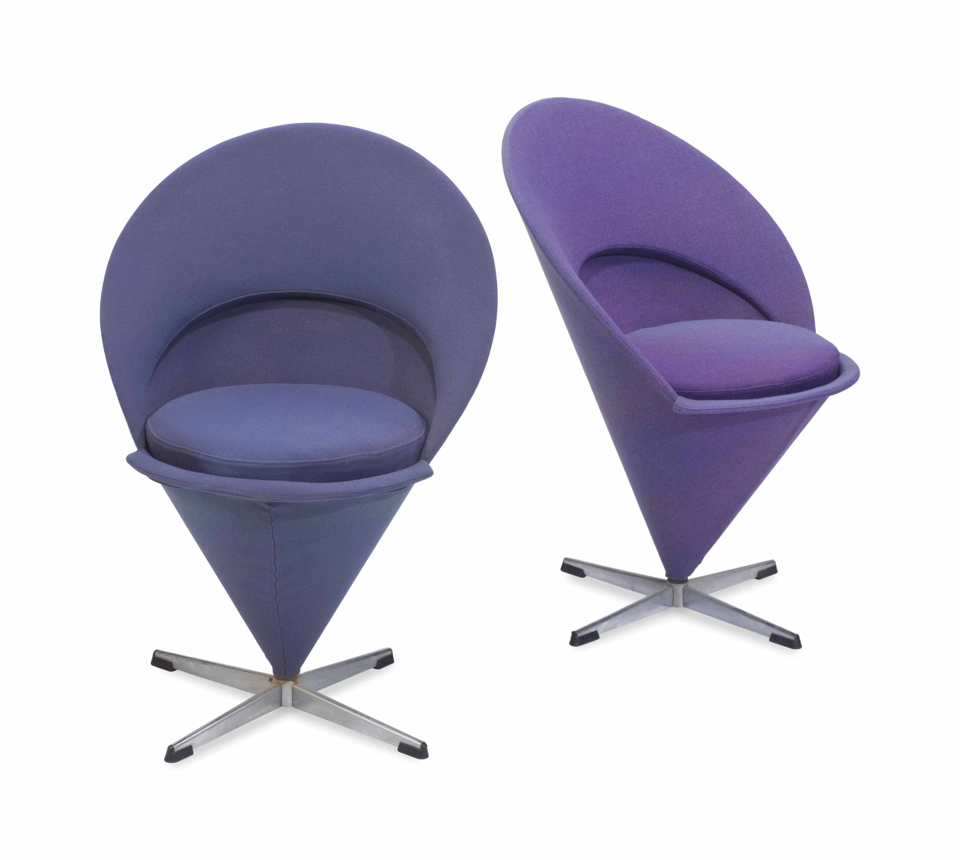 TWO STEEL AND UPHOLSTERED 'CON