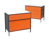 A PAIR OF STEEL FRAME SIDE CABINETS,