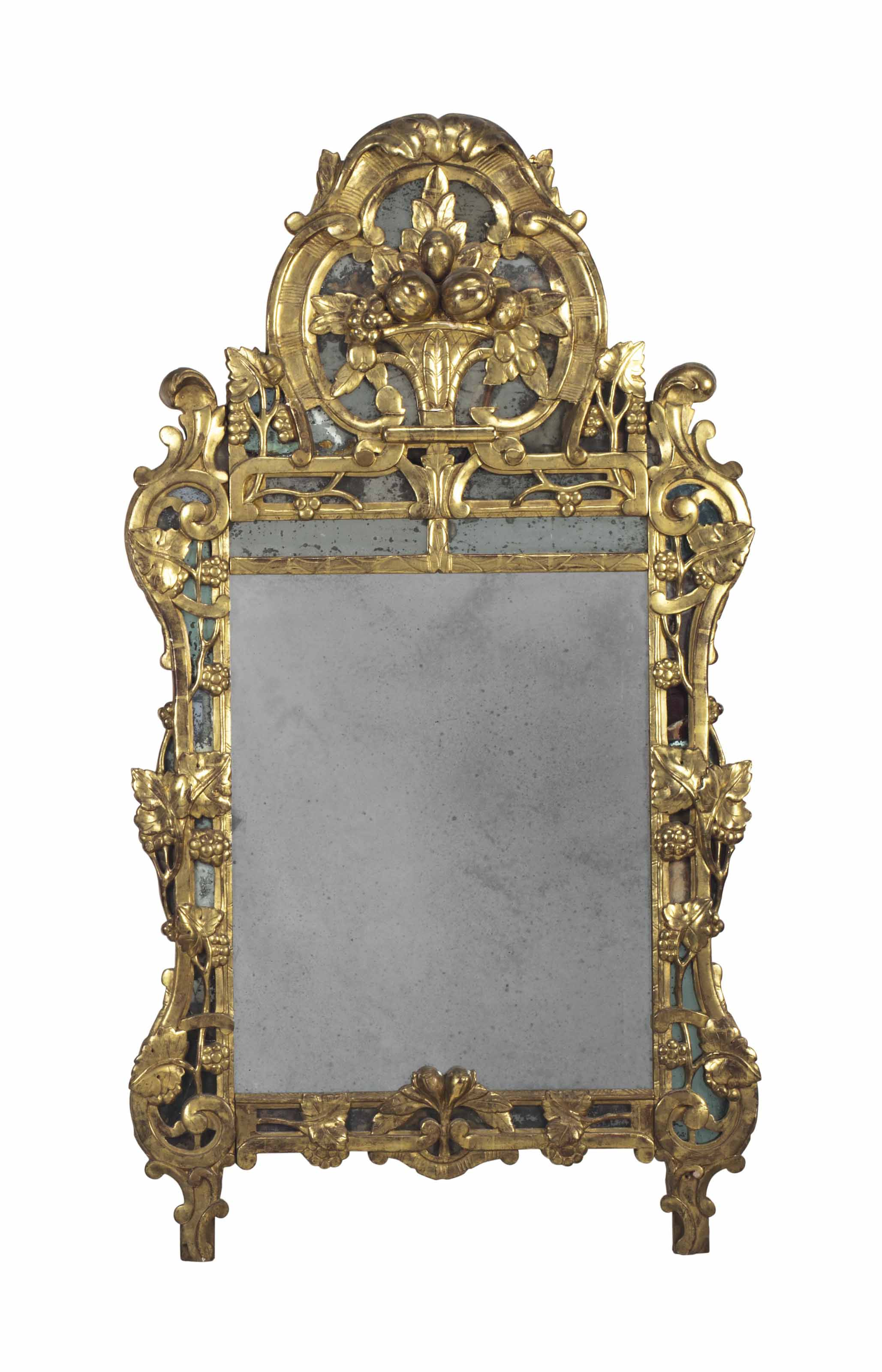 A GILTWOOD MIRROR, AND AN ETCH