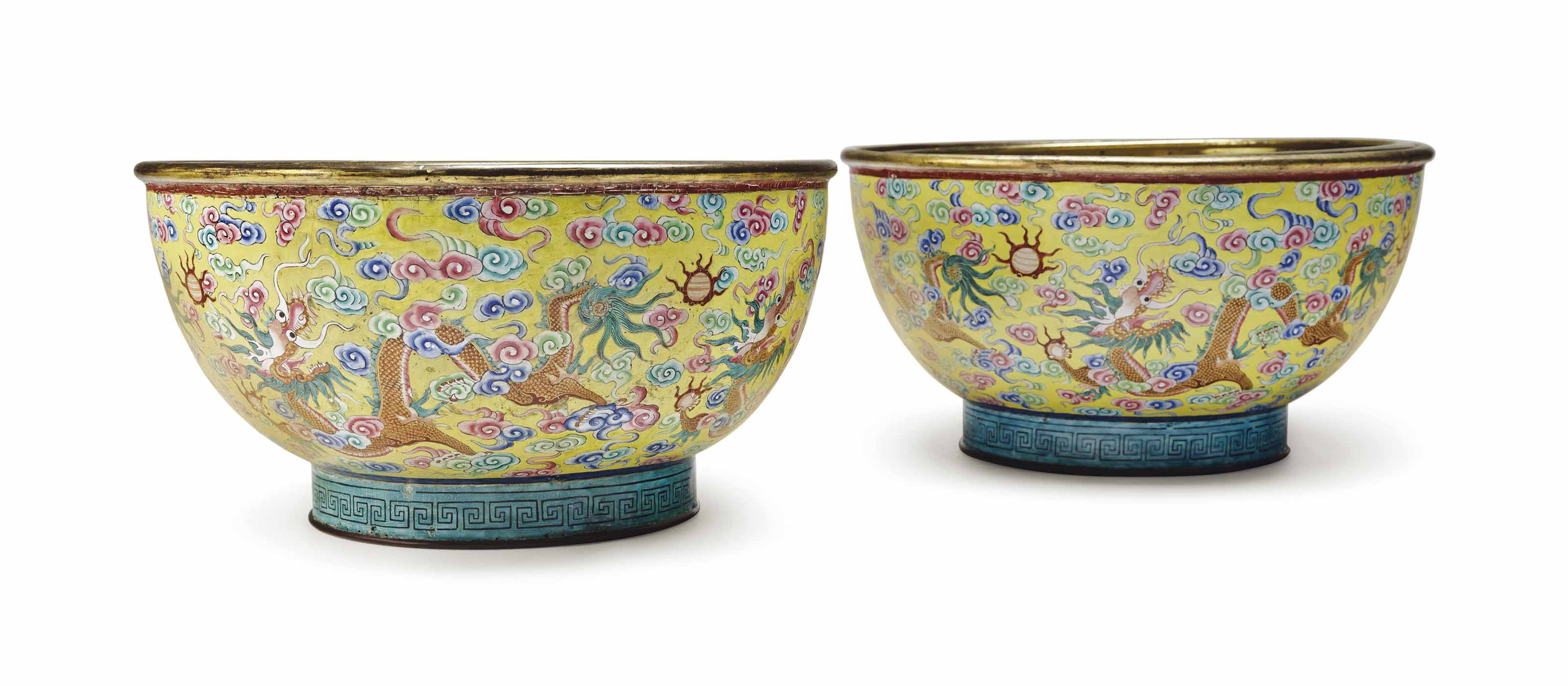 A PAIR OF CHINESE YELLOW-GROUND AND PAINTED ENAMEL BOWLS