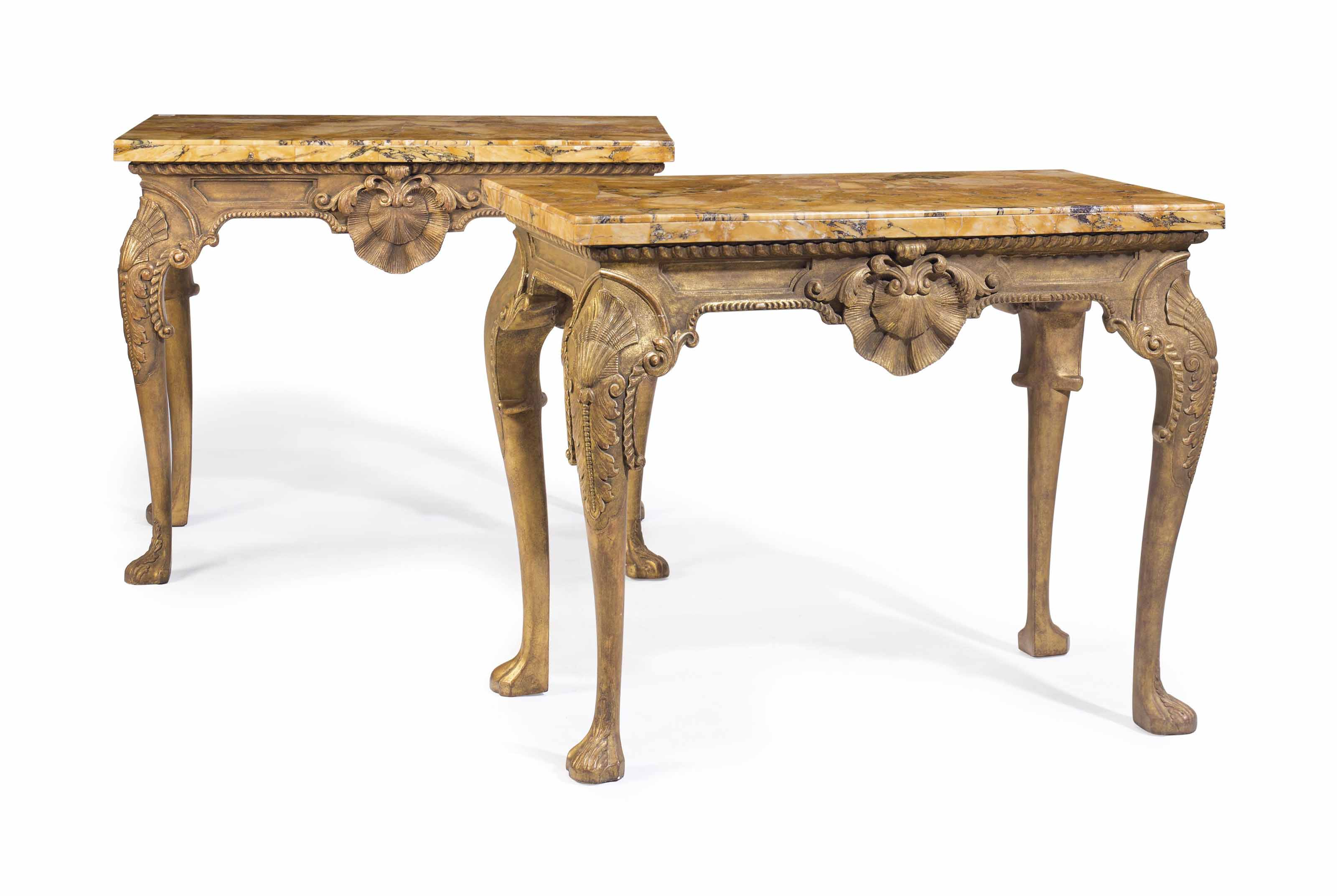 A PAIR OF ENGLISH GILTWOOD CONSOLE TABLES
