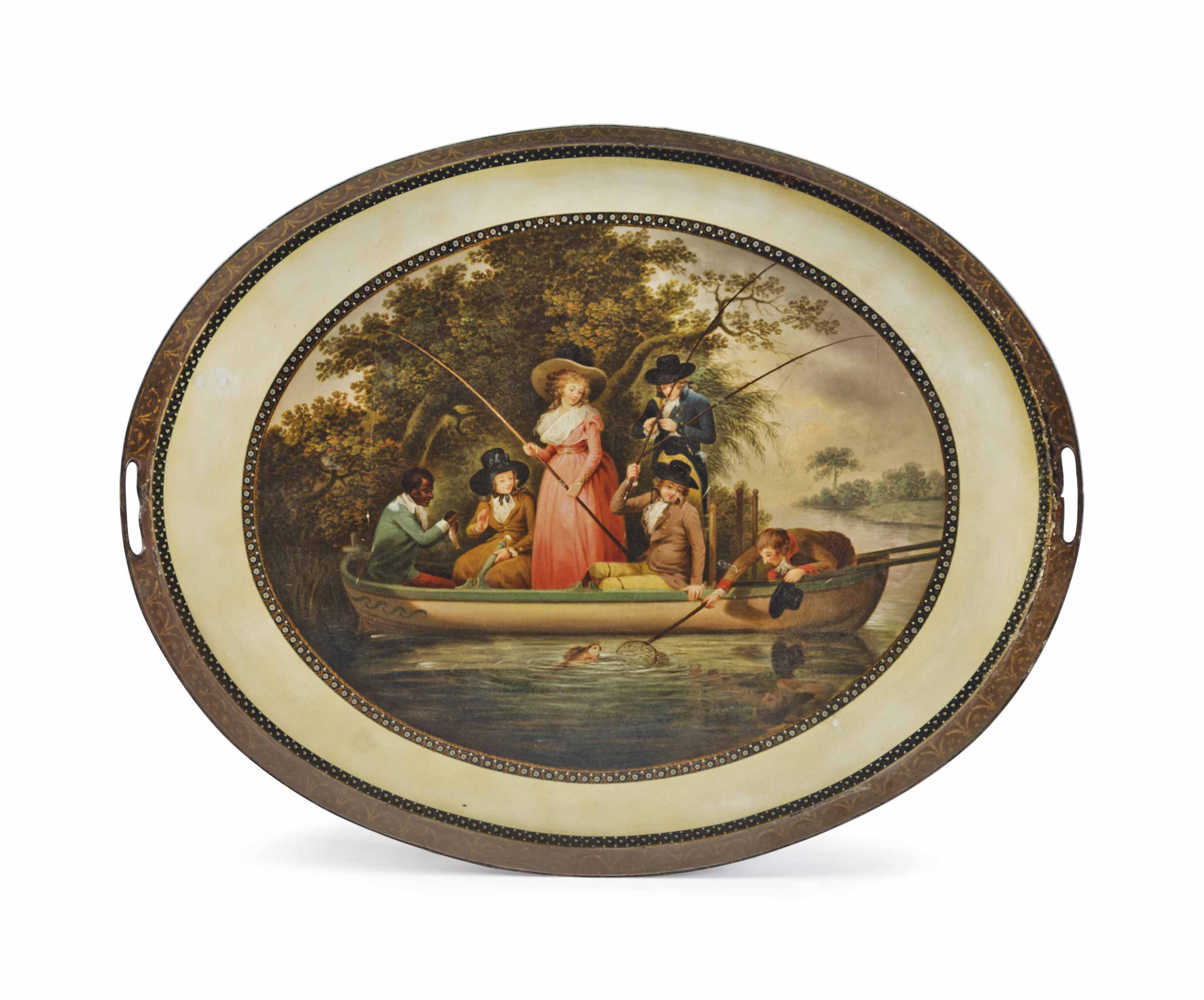 A GEORGE III POLYCHROME-PAINTED TOLE TRAY