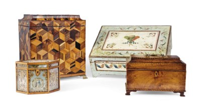 FOUR GEORGE III TABLE BOXES
