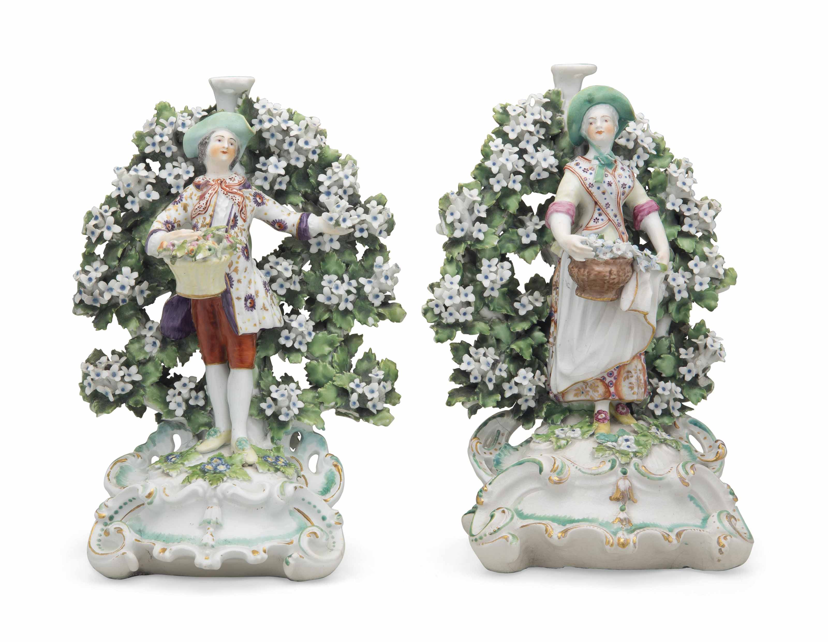 A PAIR OF DERBY PORCELAIN BOCA