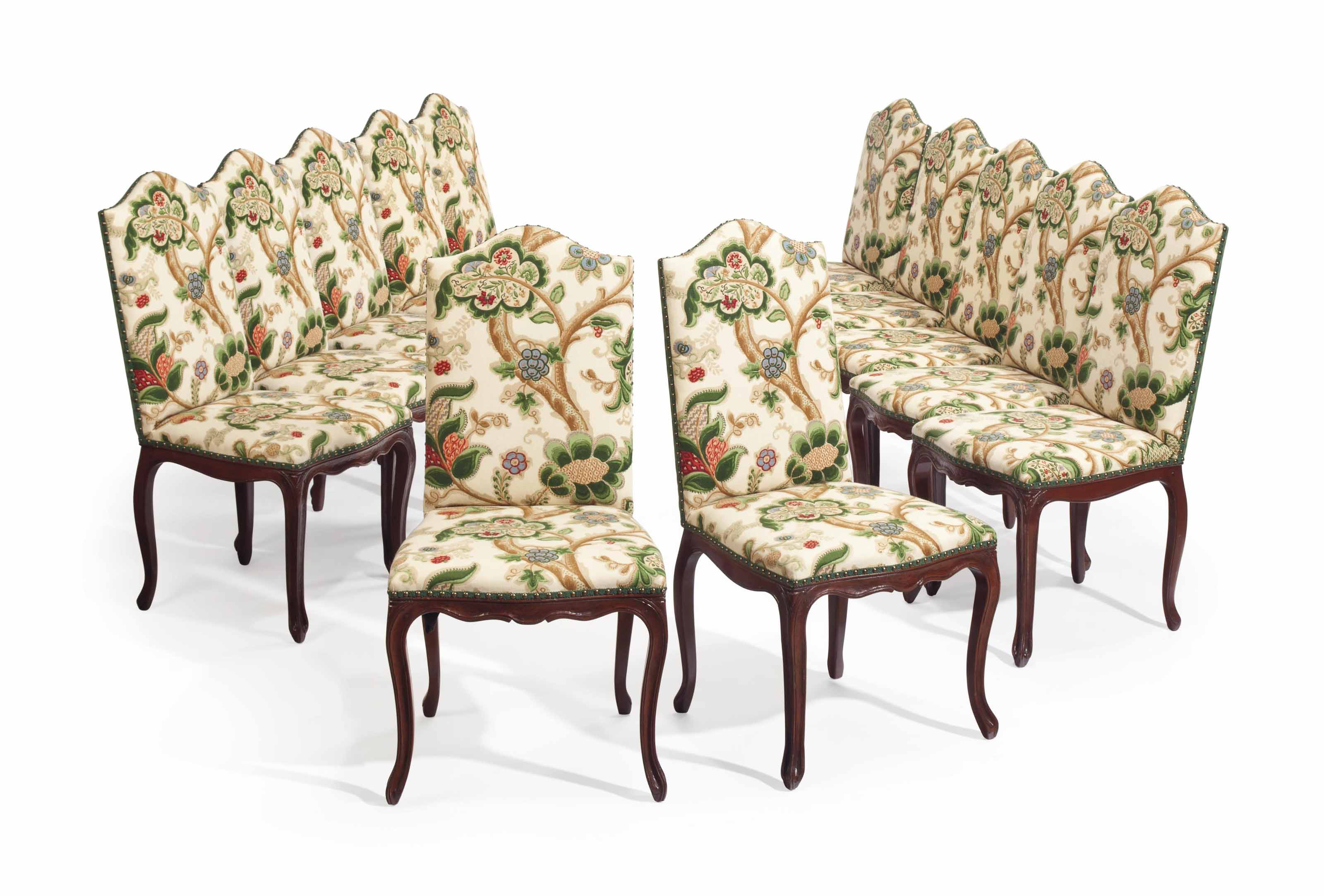 A SET OF TWELVE FRUITWOOD DINING CHAIRS