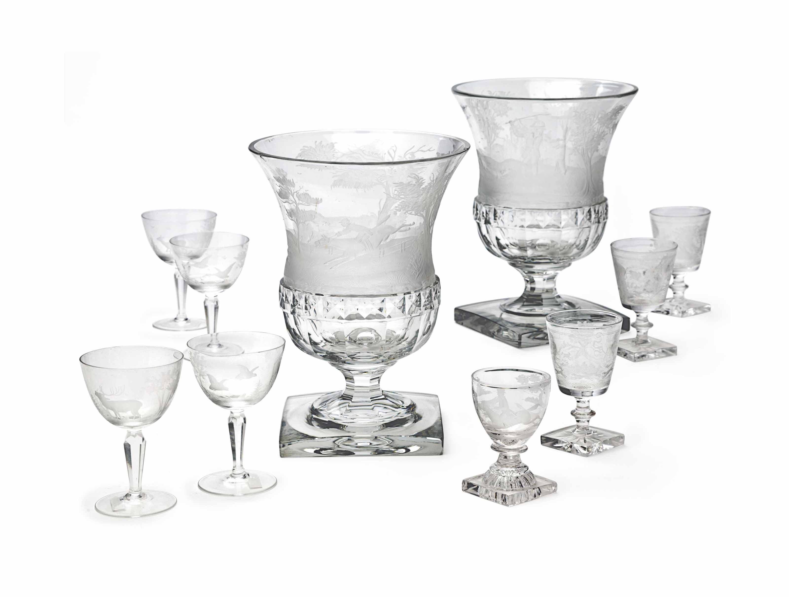 AN ASSEMBLED GROUP OF ENGLISH AND CONTINENTAL ETCHED GLASS DRINK WARE ACCESSORIES PERTAINING TO HUNTING
