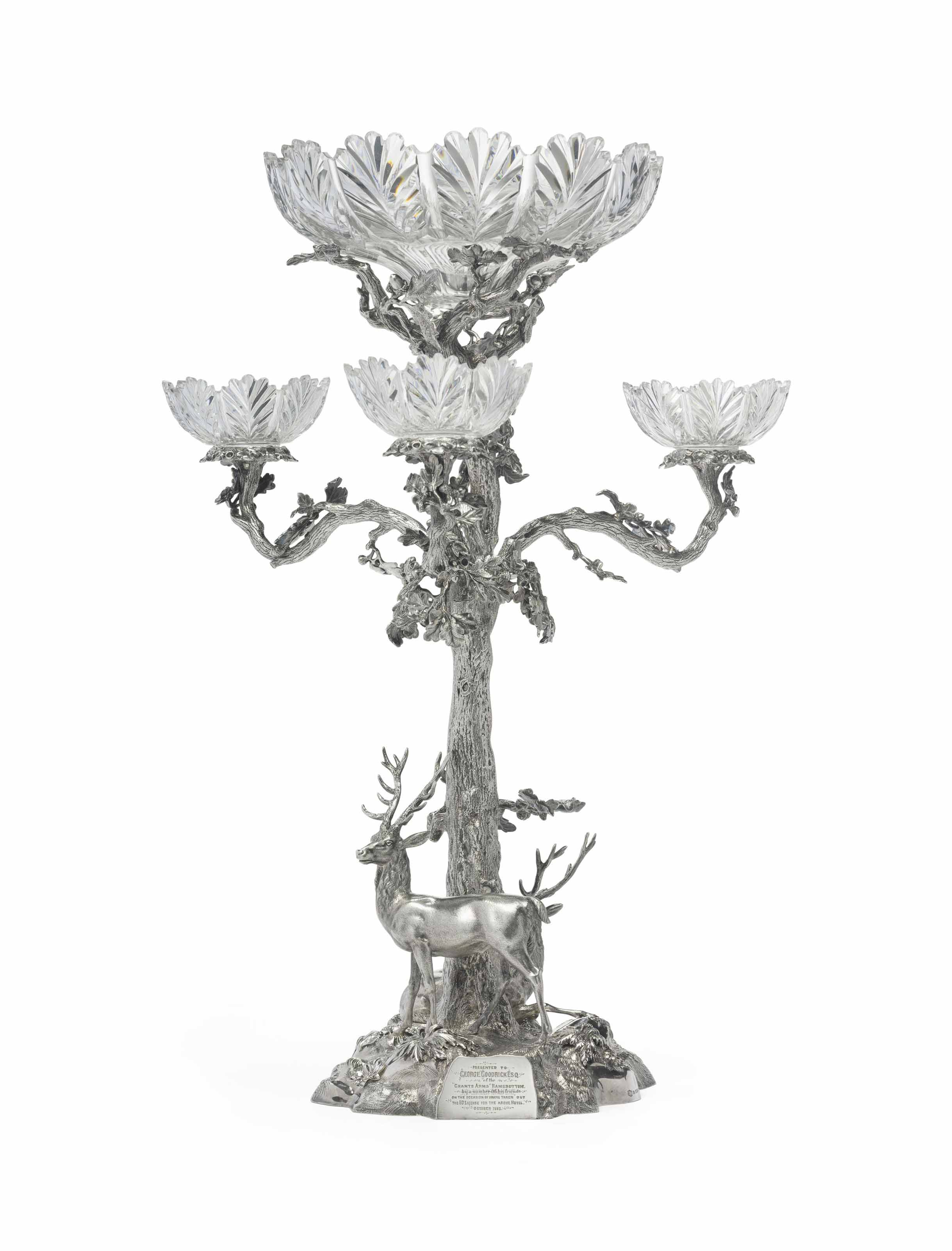 A VICTORIAN SILVER PLATE TREE-