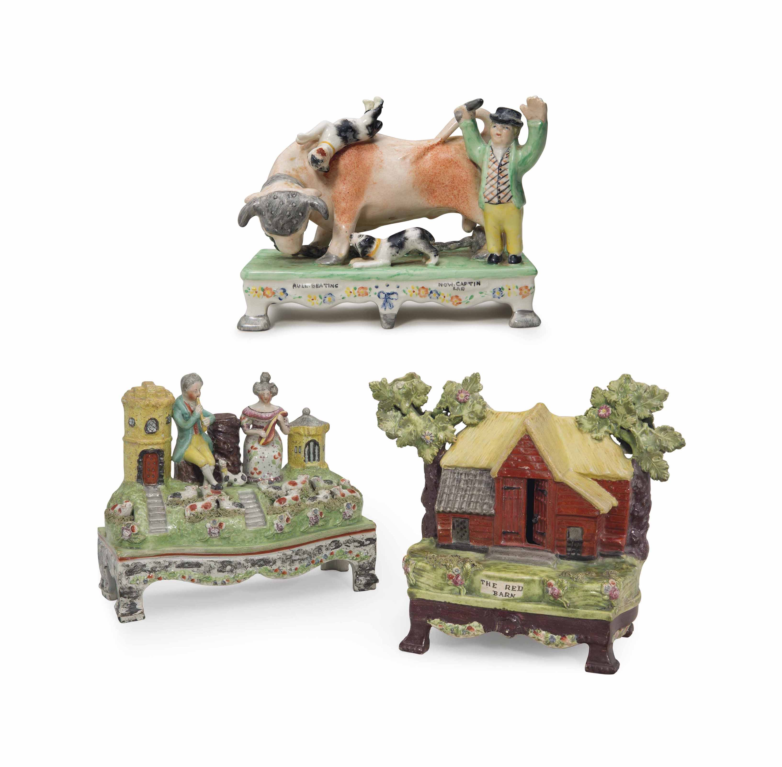 A STAFFORDSHIRE PEARLWARE GROUP OF MUSICIANS AND A MODEL OF THE RED BARN