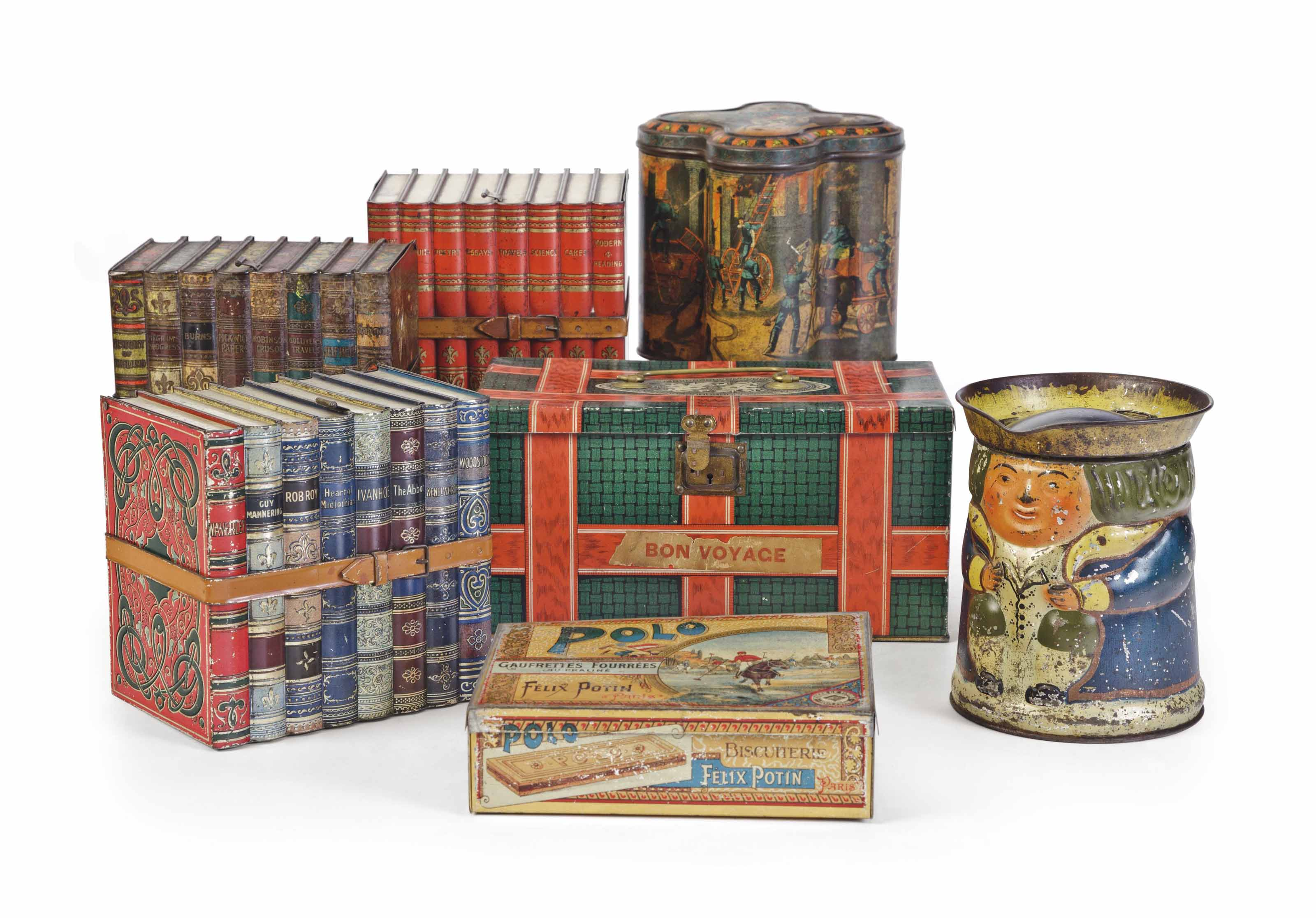 A GROUP OF SEVEN BISCUIT TINS