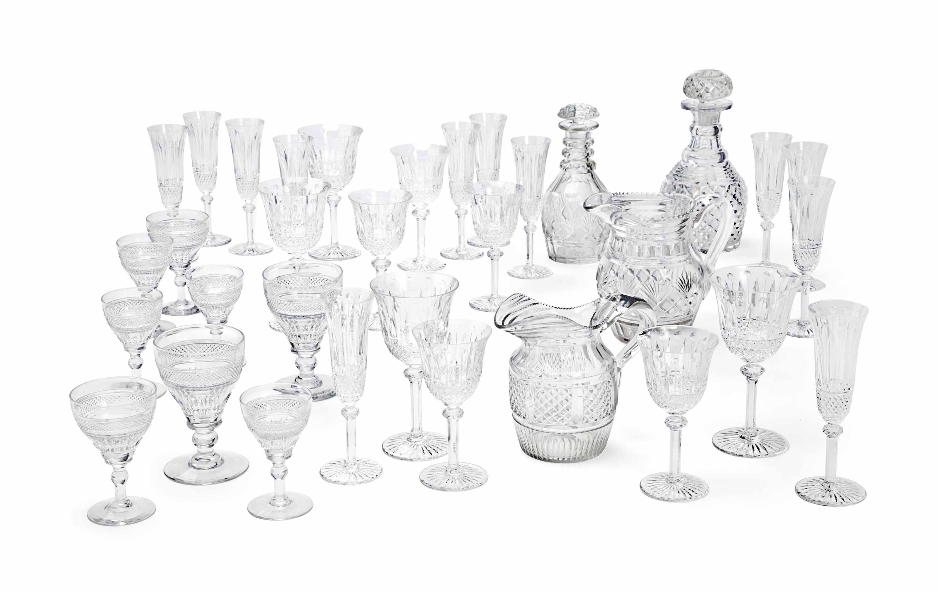 TWO FRENCH AND CONTINENTAL CUT-GLASS PART STEMWARE SERVICES