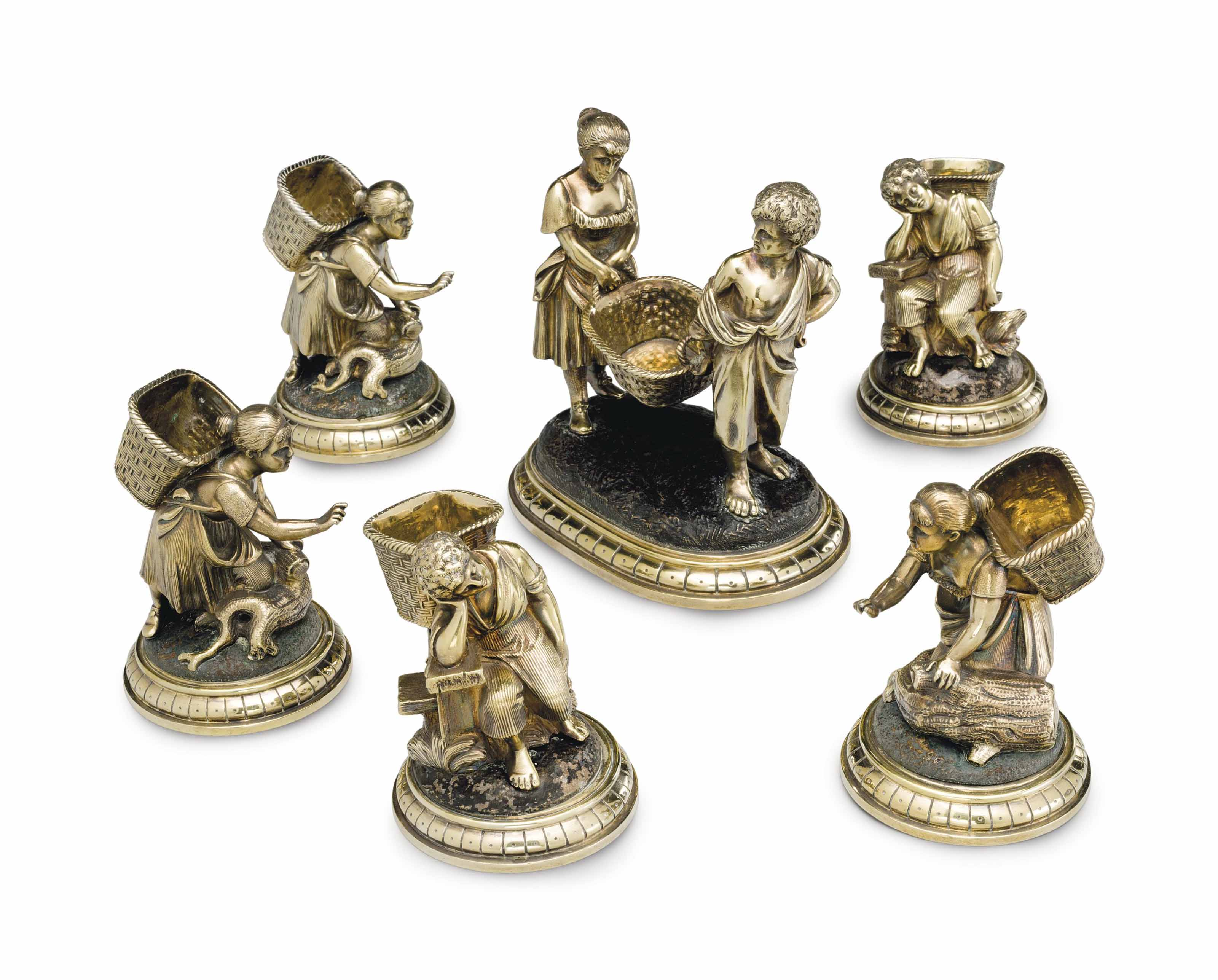 A GROUP OF SIX VICTORIAN SILVE