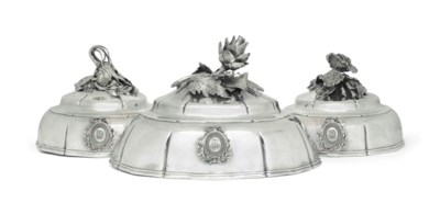 THREE FRENCH SILVER PLATE ENTR