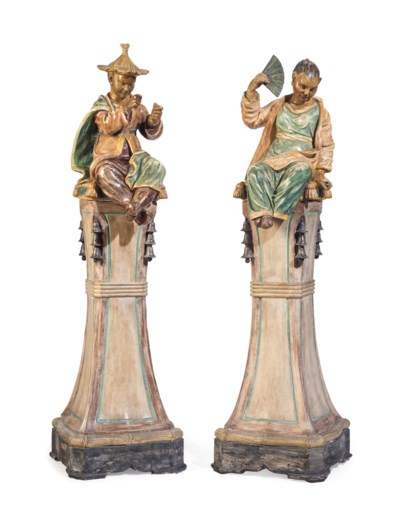 A PAIR OF POLYCHROME-PAINTED T