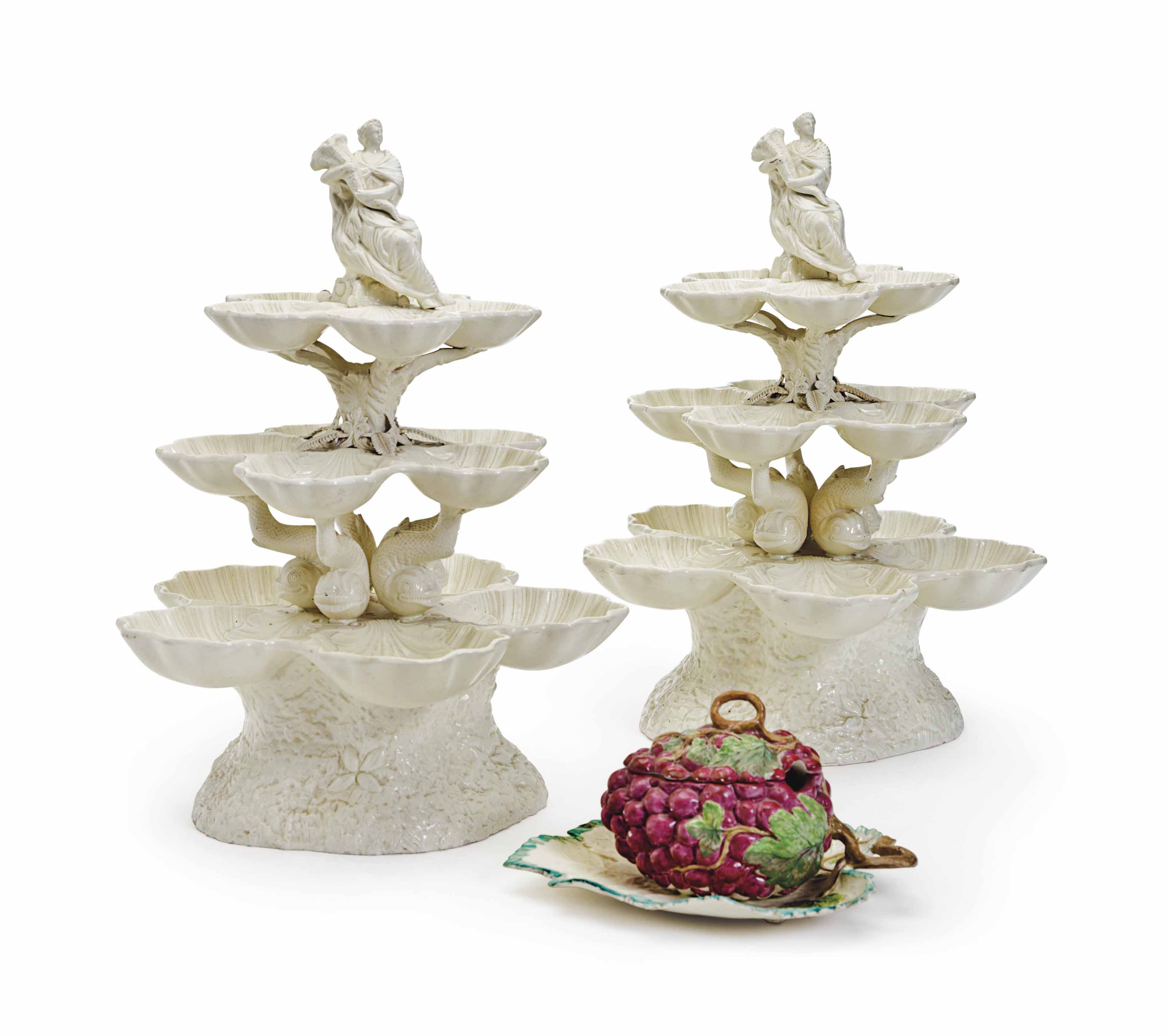A PAIR OF ENGLISH CREAMWARE SH
