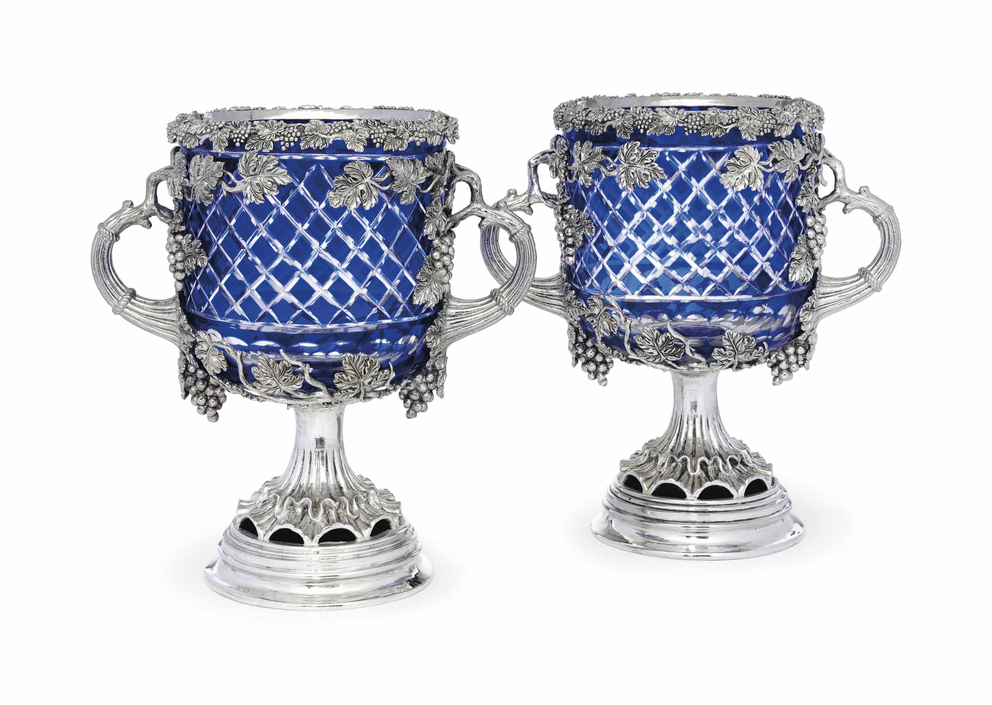 A PAIR OF SILVER-PLATE MOUNTED