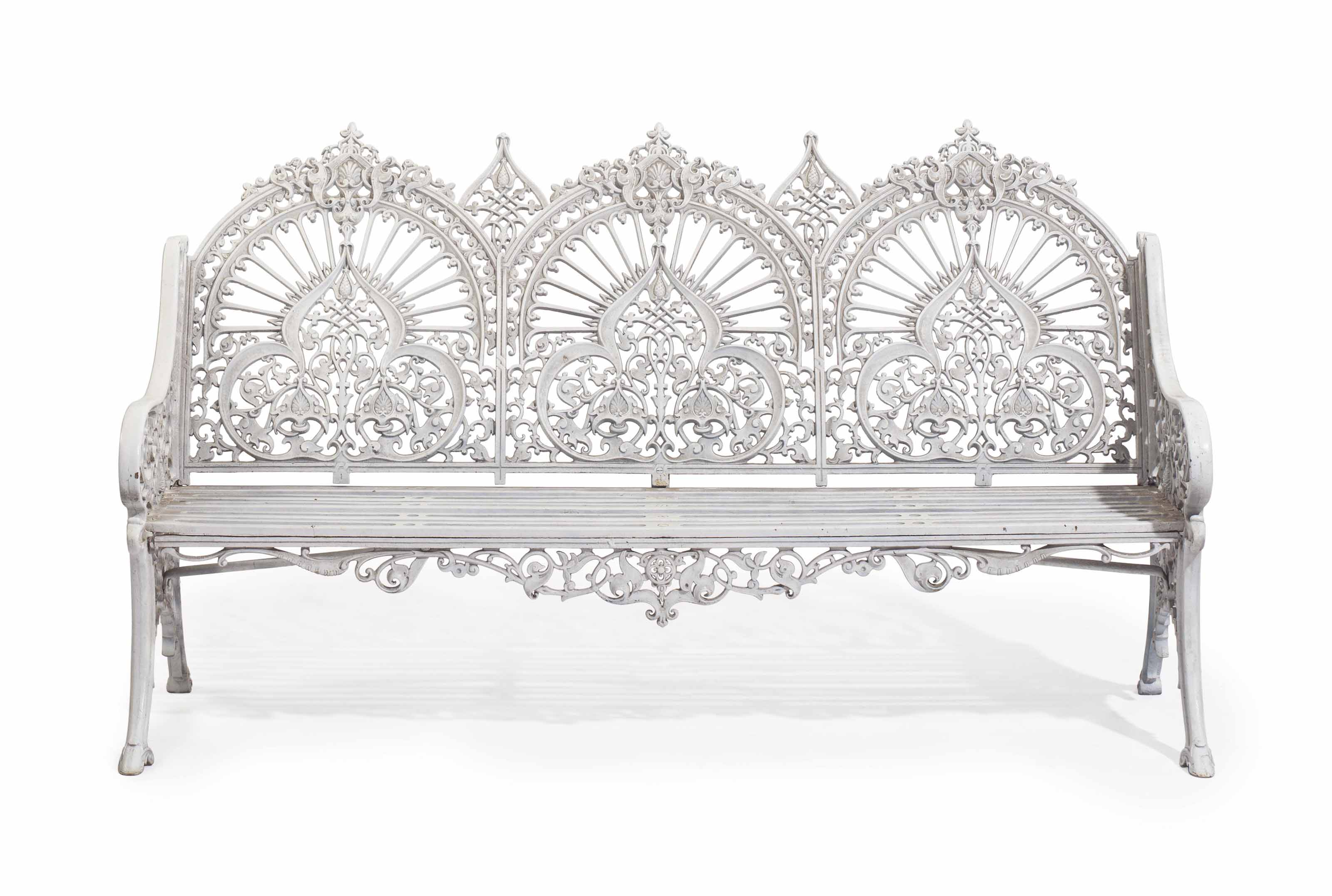 A VICTORIAN WHITE-PAINTED CAST-IRON GARDEN BENCH