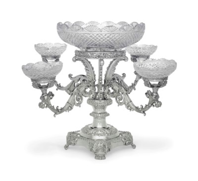 A SILVER PLATE FIVE-BRANCH EPE