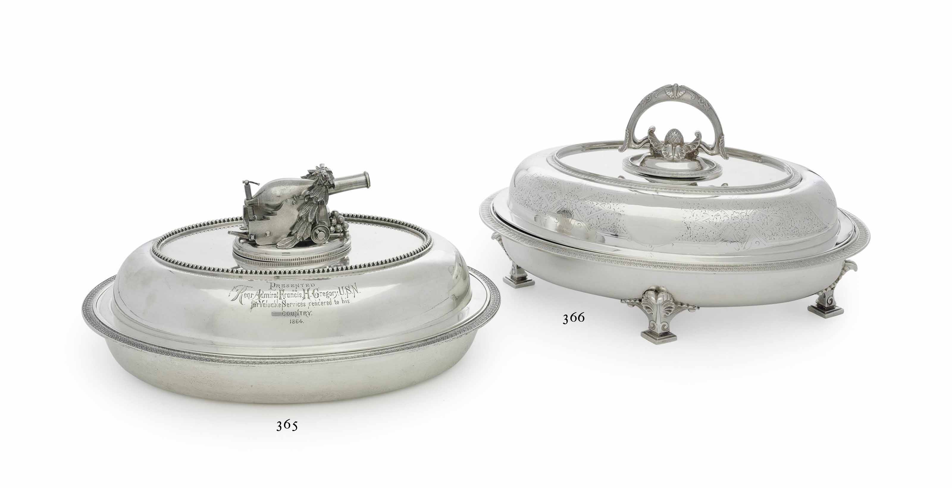 AN AMERICAN SILVER COMMEMORATIVE ENTREE DISH AND COVER