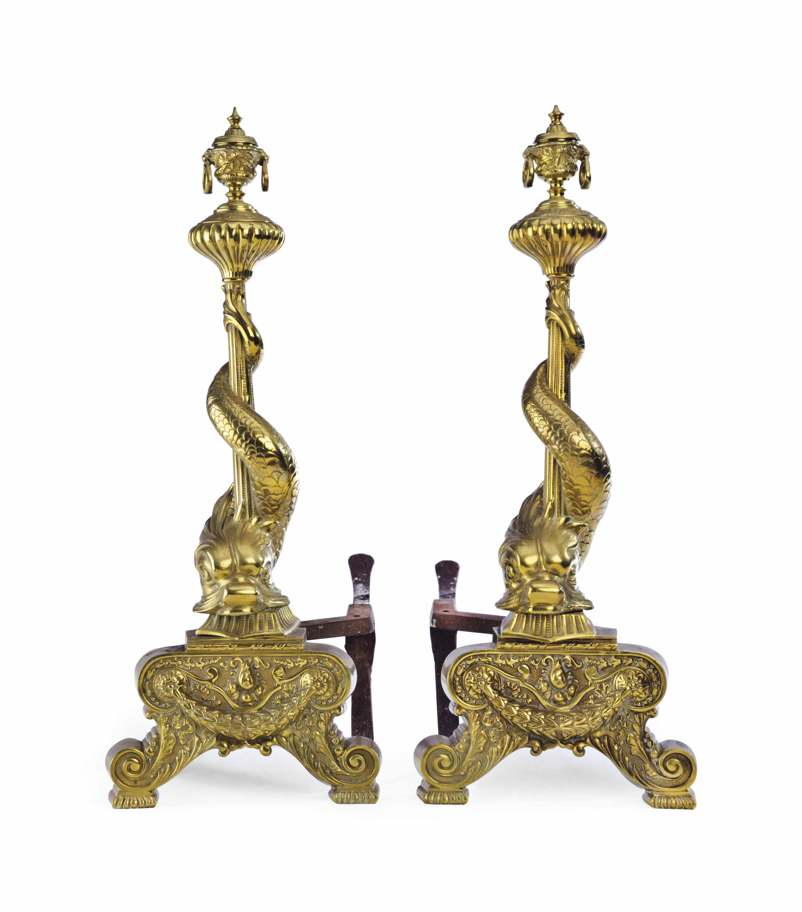 A PAIR OF CONTINENTAL BRASS AN