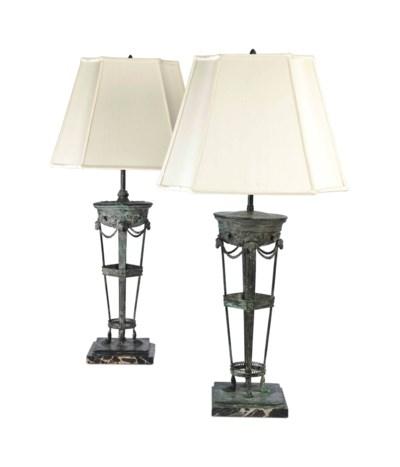 A PAIR OF PATINATED-METAL LAMP