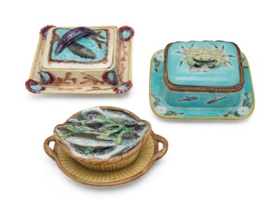 THREE ENGLISH MAJOLICA SARDINE