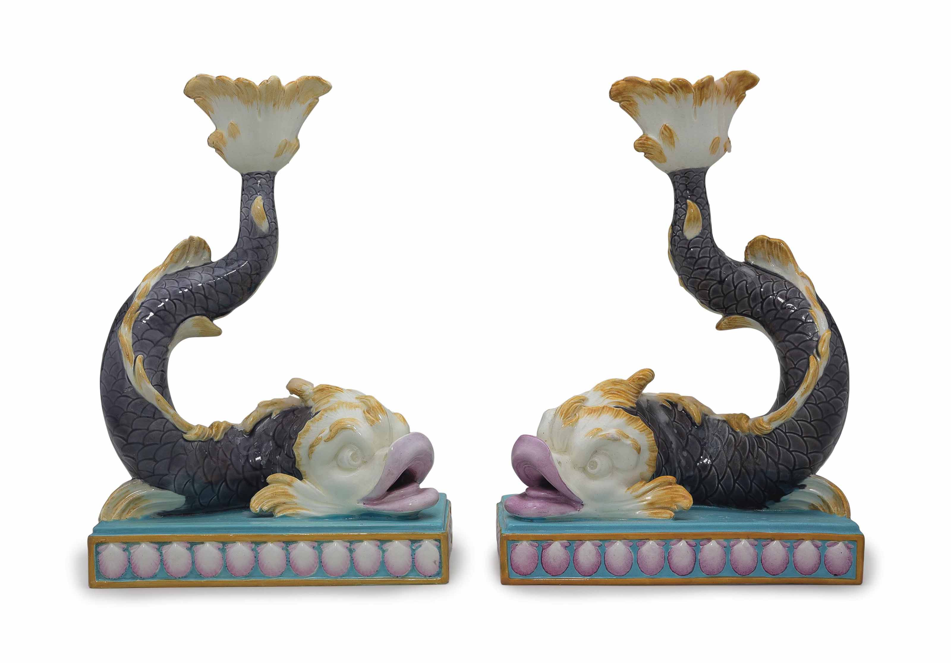TWO WEDGWOOD MAJOLICA DOLPHIN-