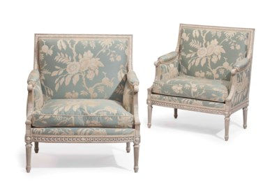 A PAIR OF FRENCH GREY AND CREA