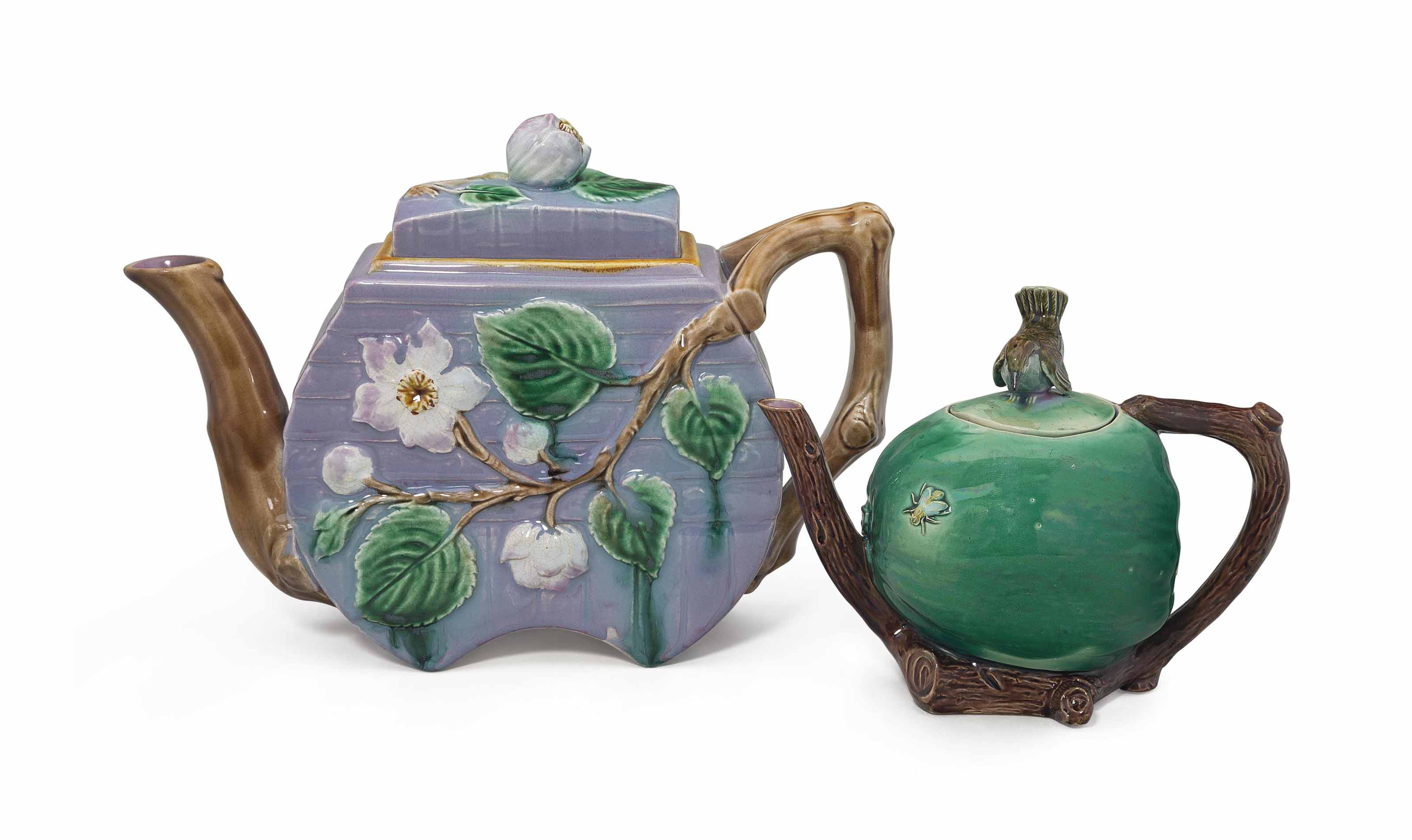 TWO ENGLISH MAJOLICA TEAPOTS