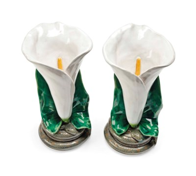 A PAIR OF MINTON MAJOLICA LILY