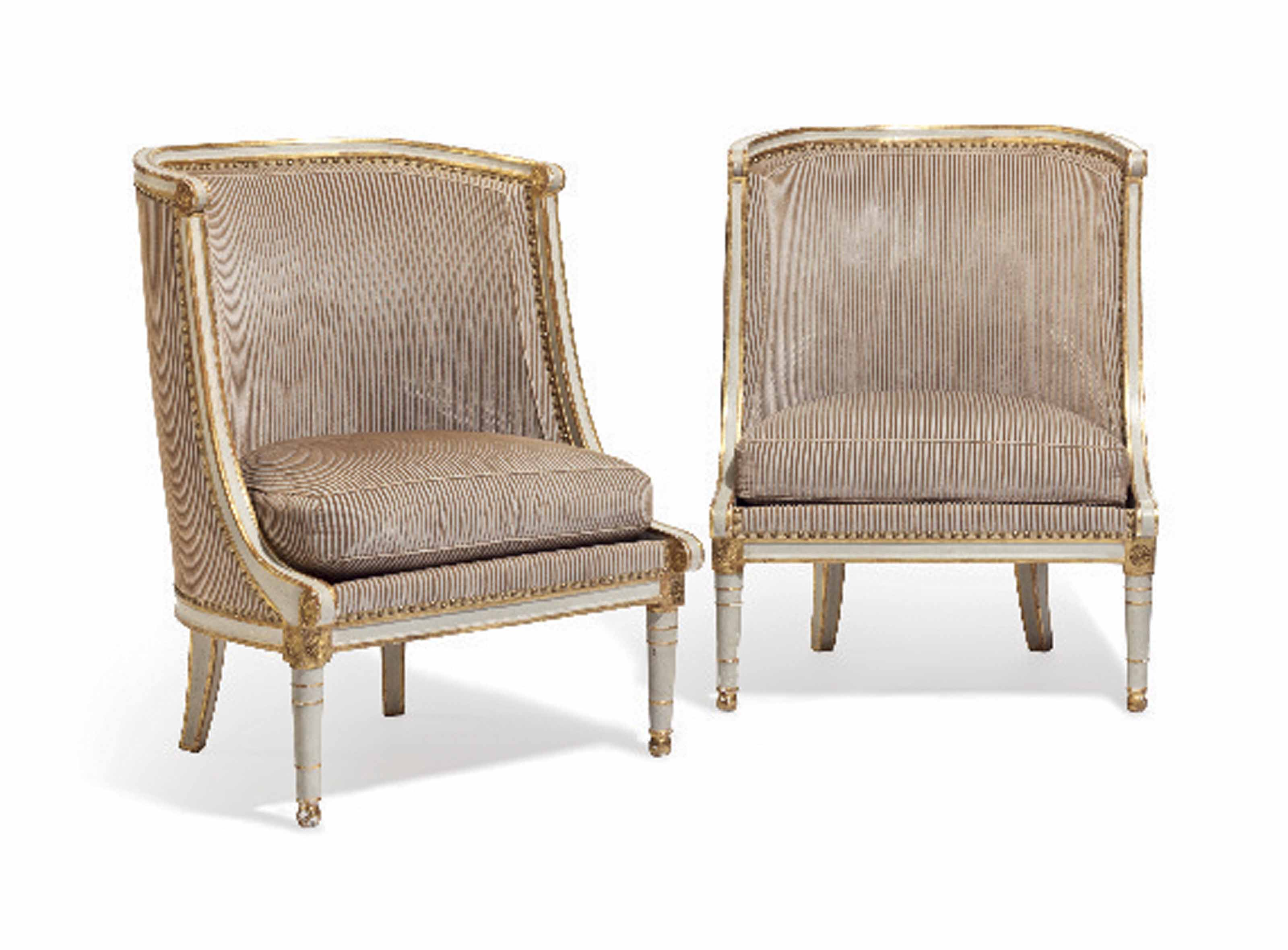 A PAIR OF DIRECTOIRE GRAY-PAINTED AND PARCEL-GILT CHAISES GONDOLE