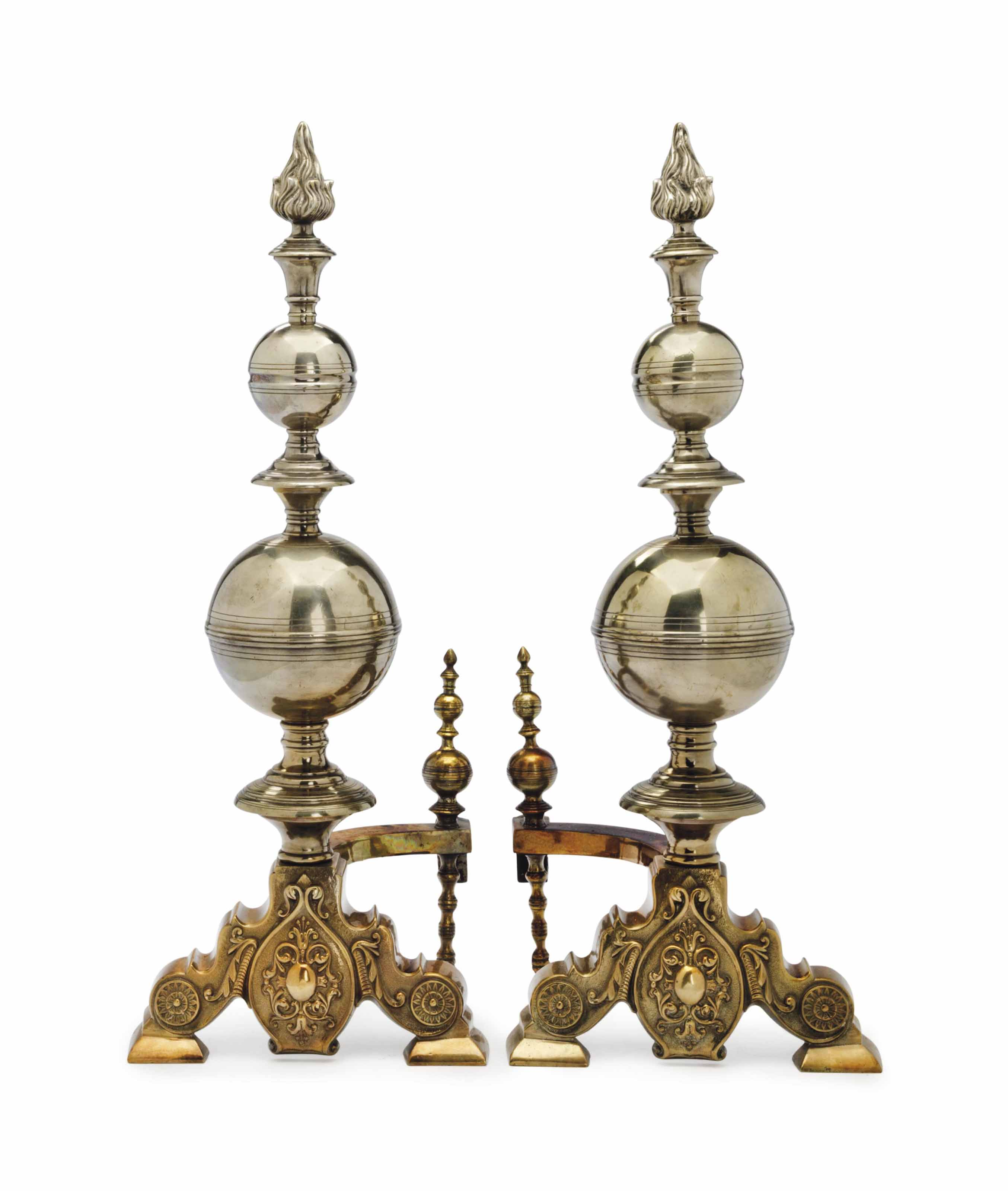 A PAIR OF BRASS AND SILVERED M