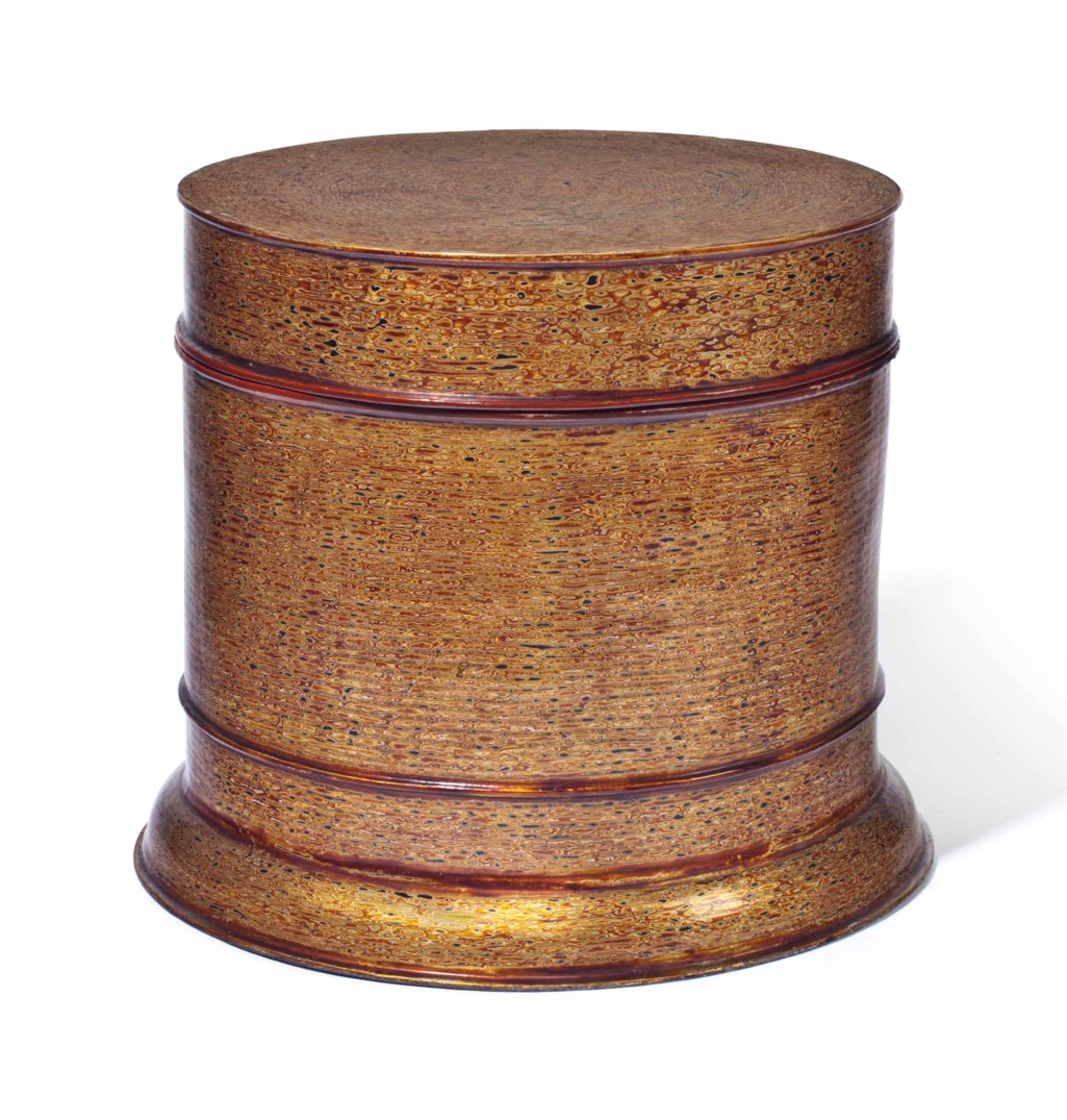 AN ASIAN GILT AND POLYCHROME-LACQUER STORAGE BOX