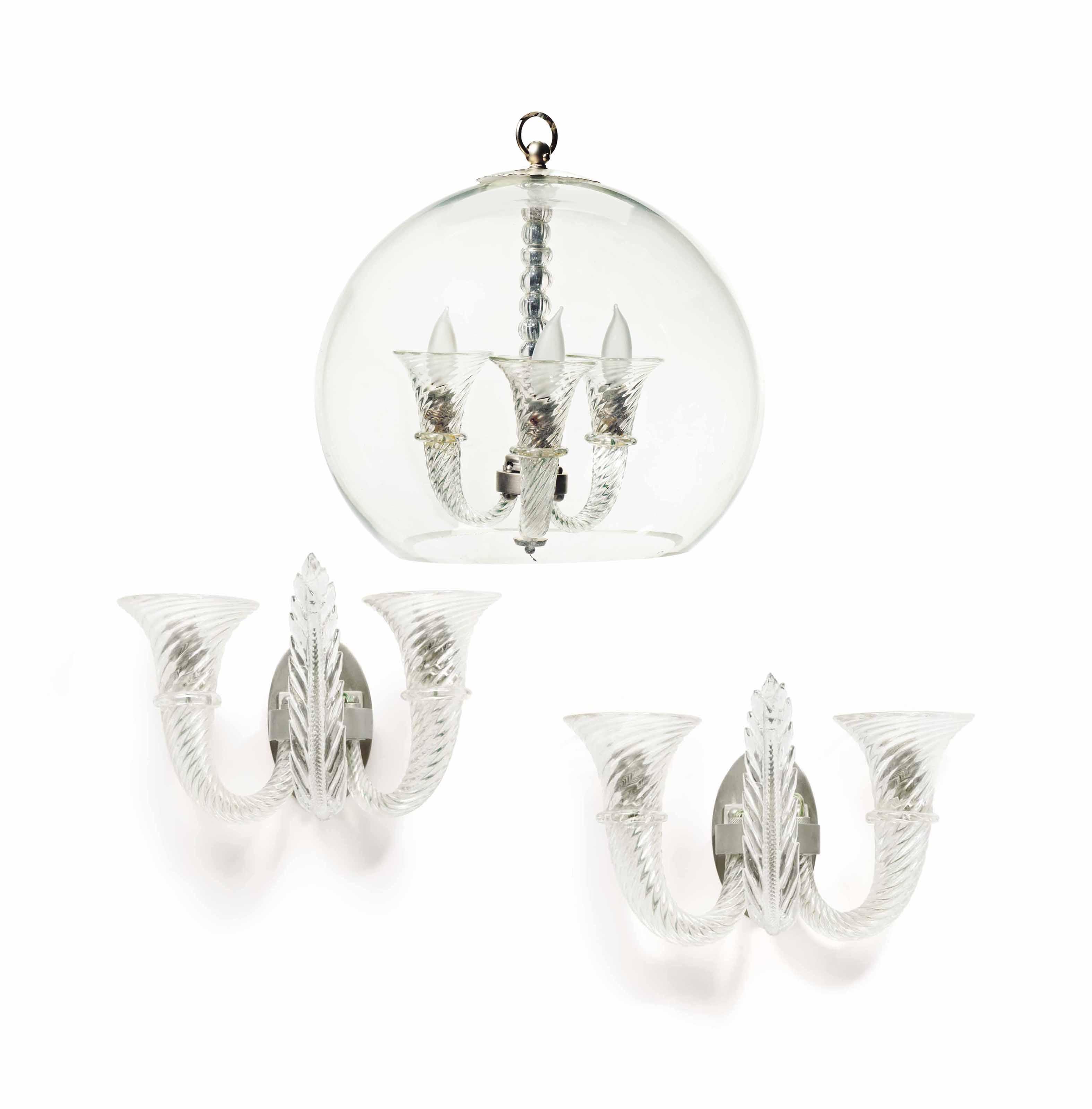 A FRENCH GLASS THREE-LIGHT CHA