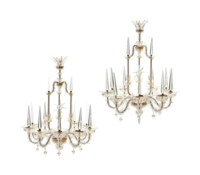 A PAIR OF FRENCH CUT AND GILT-GLASS CHANDELIERS