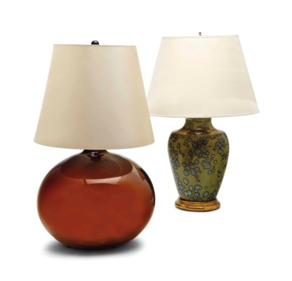 A BROWN GLASS LAMP AND A PIERR