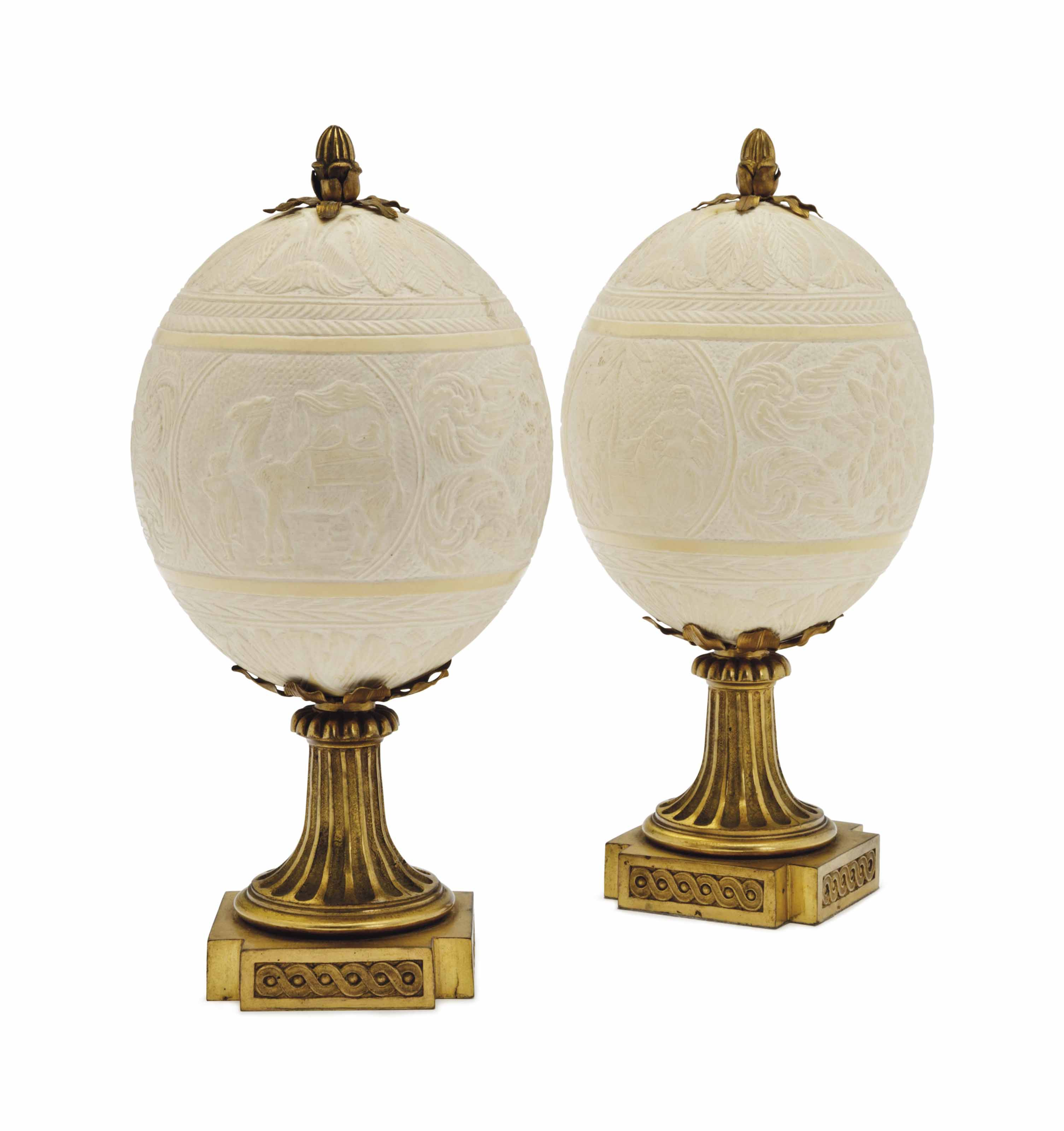 A PAIR OF ORMOLU-MOUNTED OSTRI