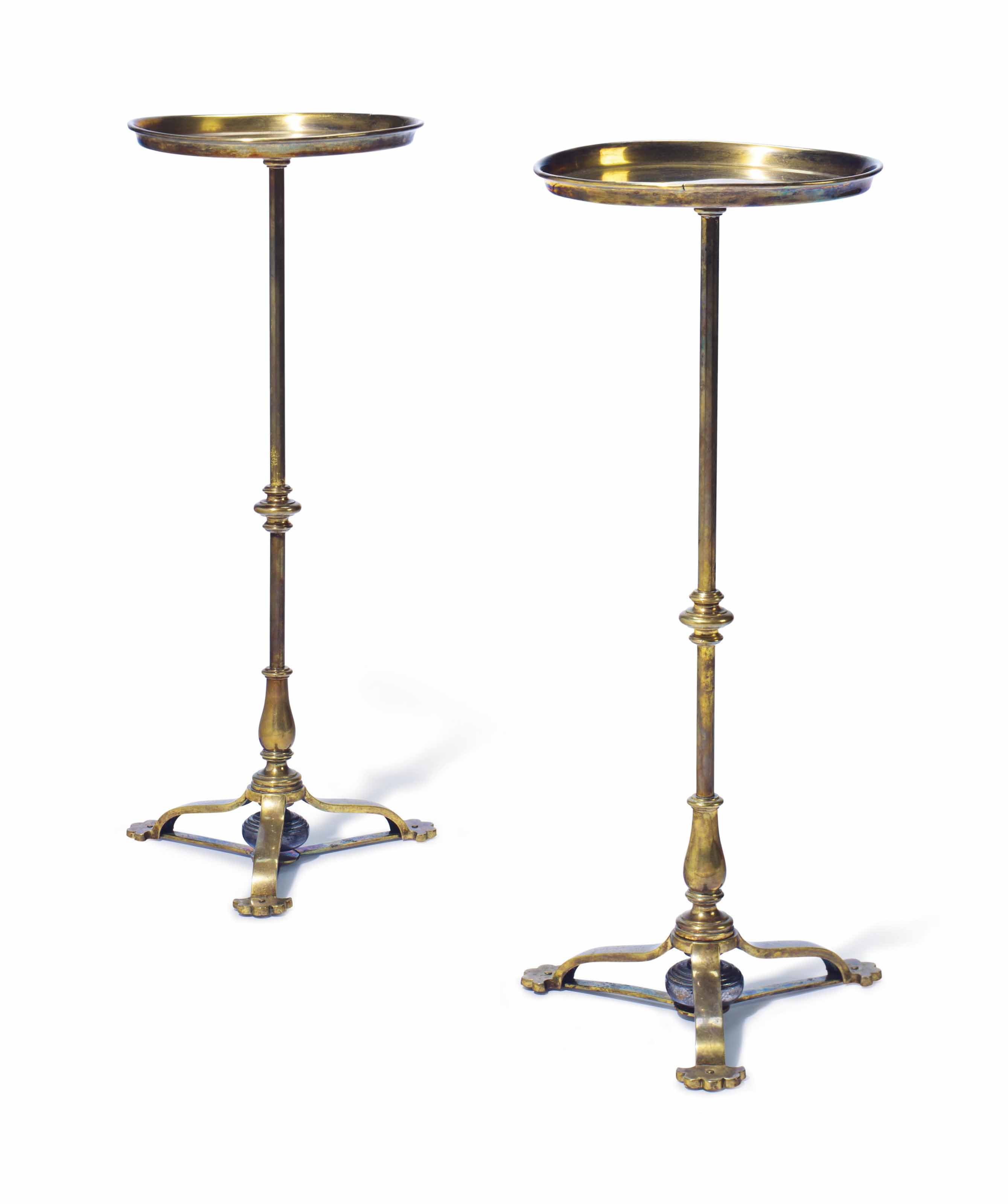 A PAIR OF BRASS SIDE TABLES