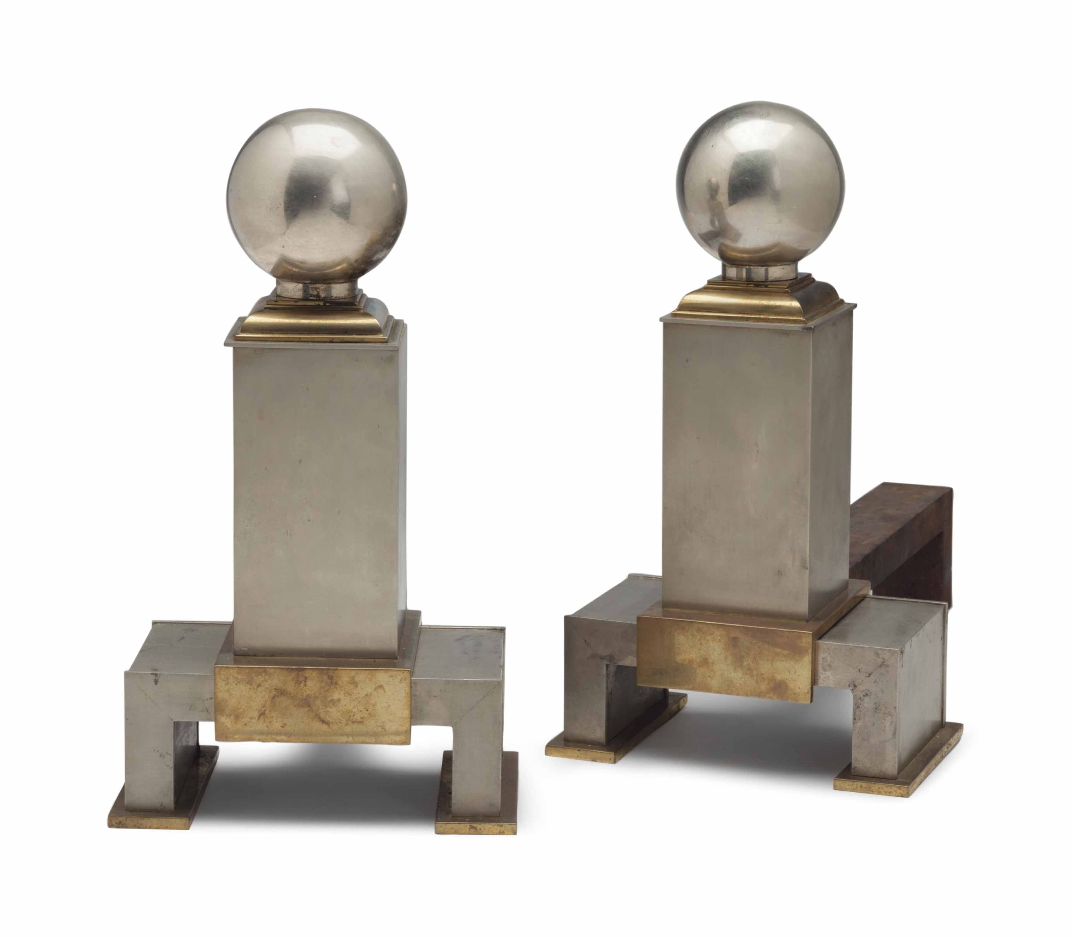 A PAIR OF STEEL AND BRASS ANDI