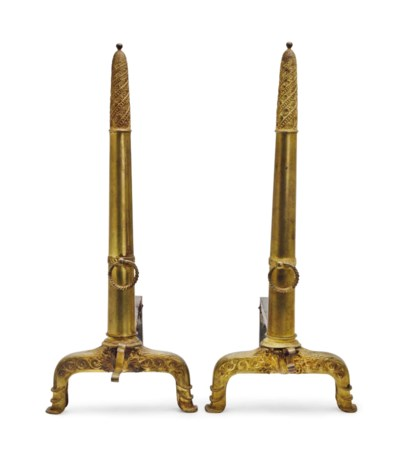 A PAIR OF FRENCH BRASS ANDIRON