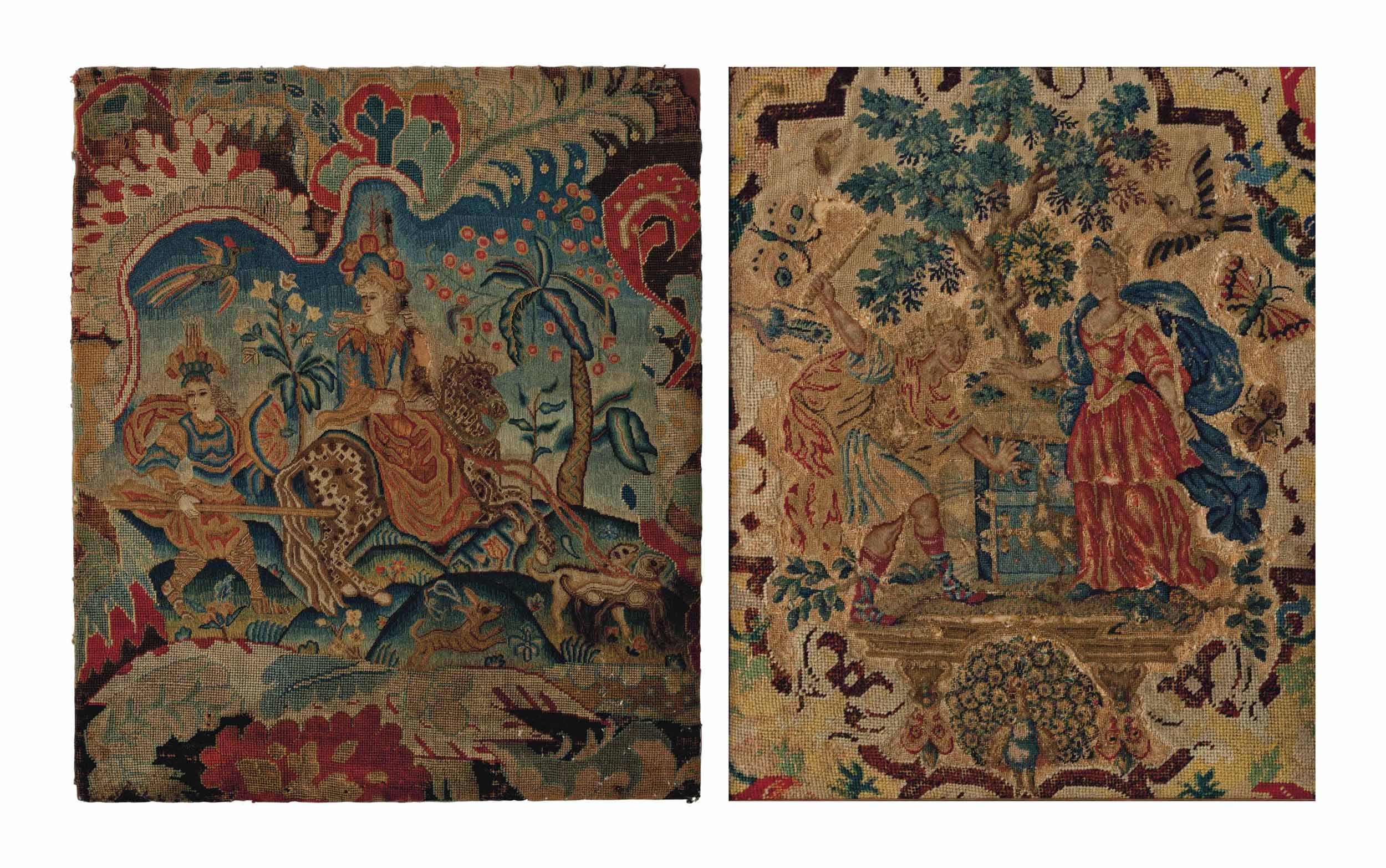 TWO ENGLISH NEEDLEWORK PANELS