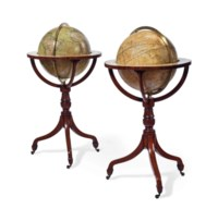 A MATCHED PAIR OF REGENCY MAHOGANY LIBRARY GLOBES