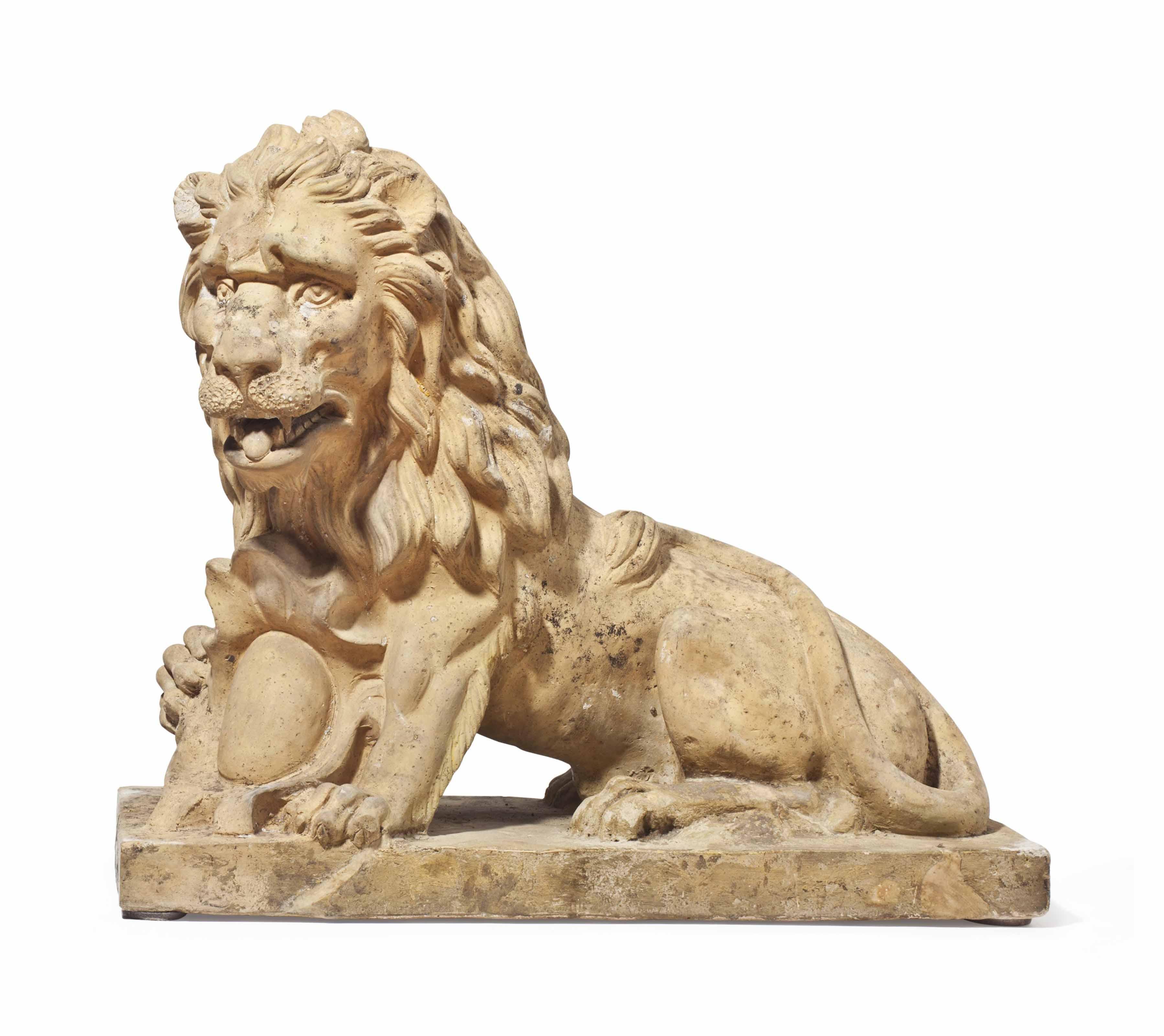 AN ITALIAN TINTED-PLASTER LION