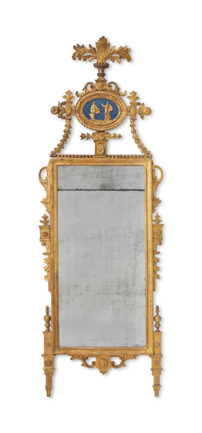 AN ITALIAN GILTWOOD AND BLUE-P