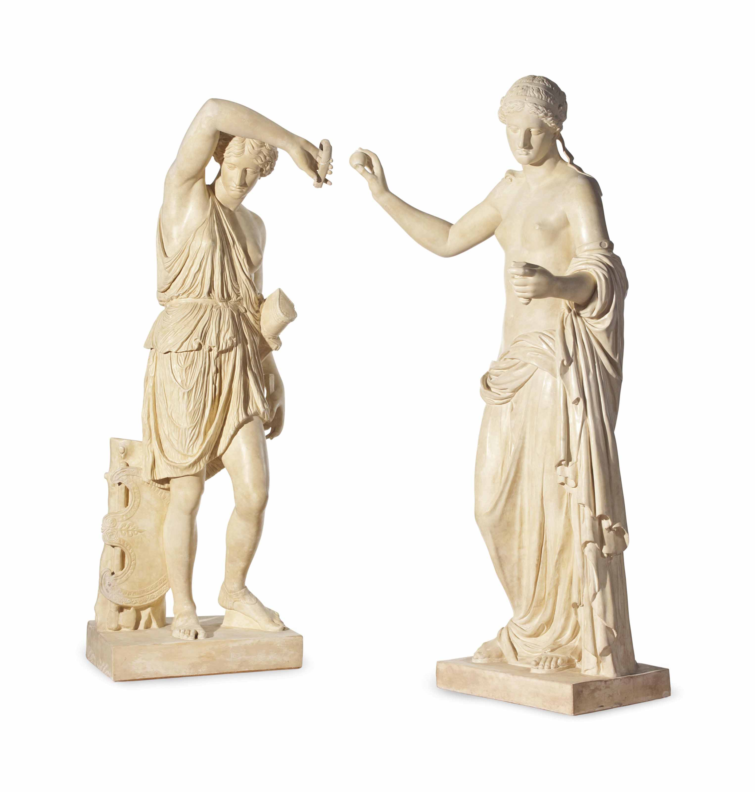 TWO PLASTER CASTS