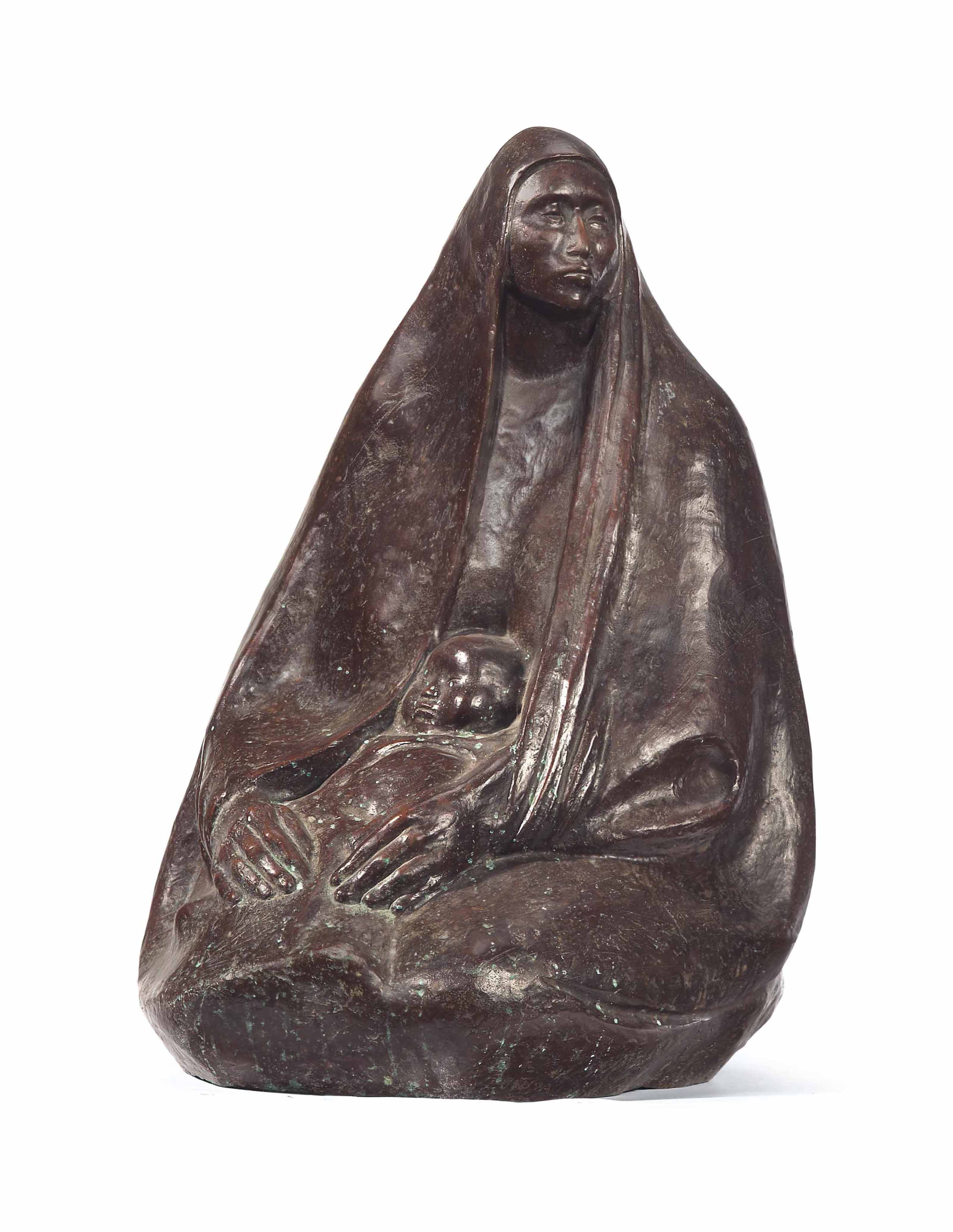 A BRONZE MOTHER AND CHILD