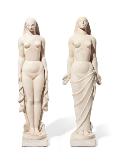 A PAIR OF PLASTER ART DECO STY